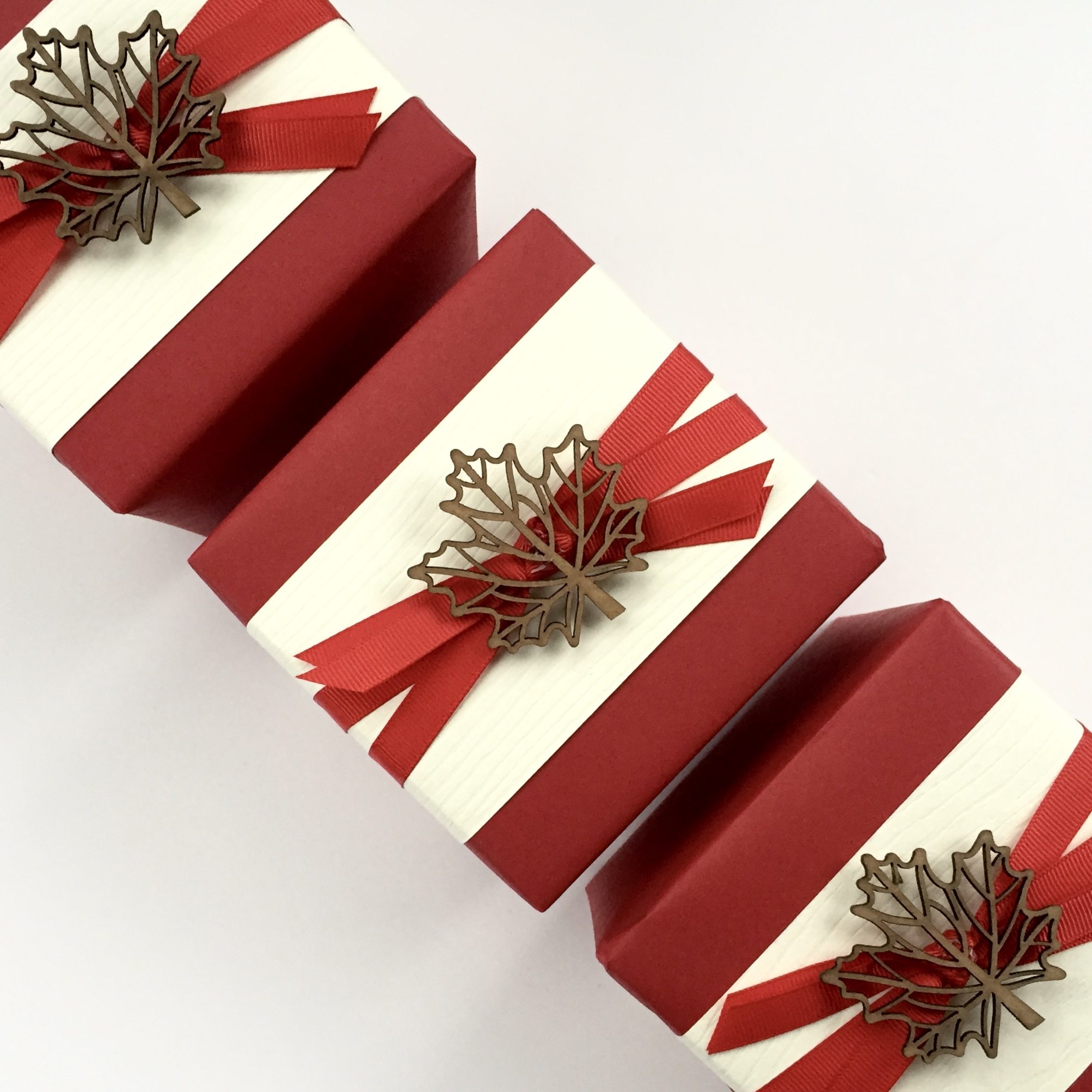 Canadian-Themed business gifts, wrapped by Corinna vanGerwen