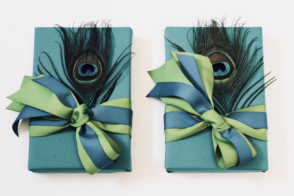 Peacock-motif client gifts, wrapped by Corinna vanGerwen