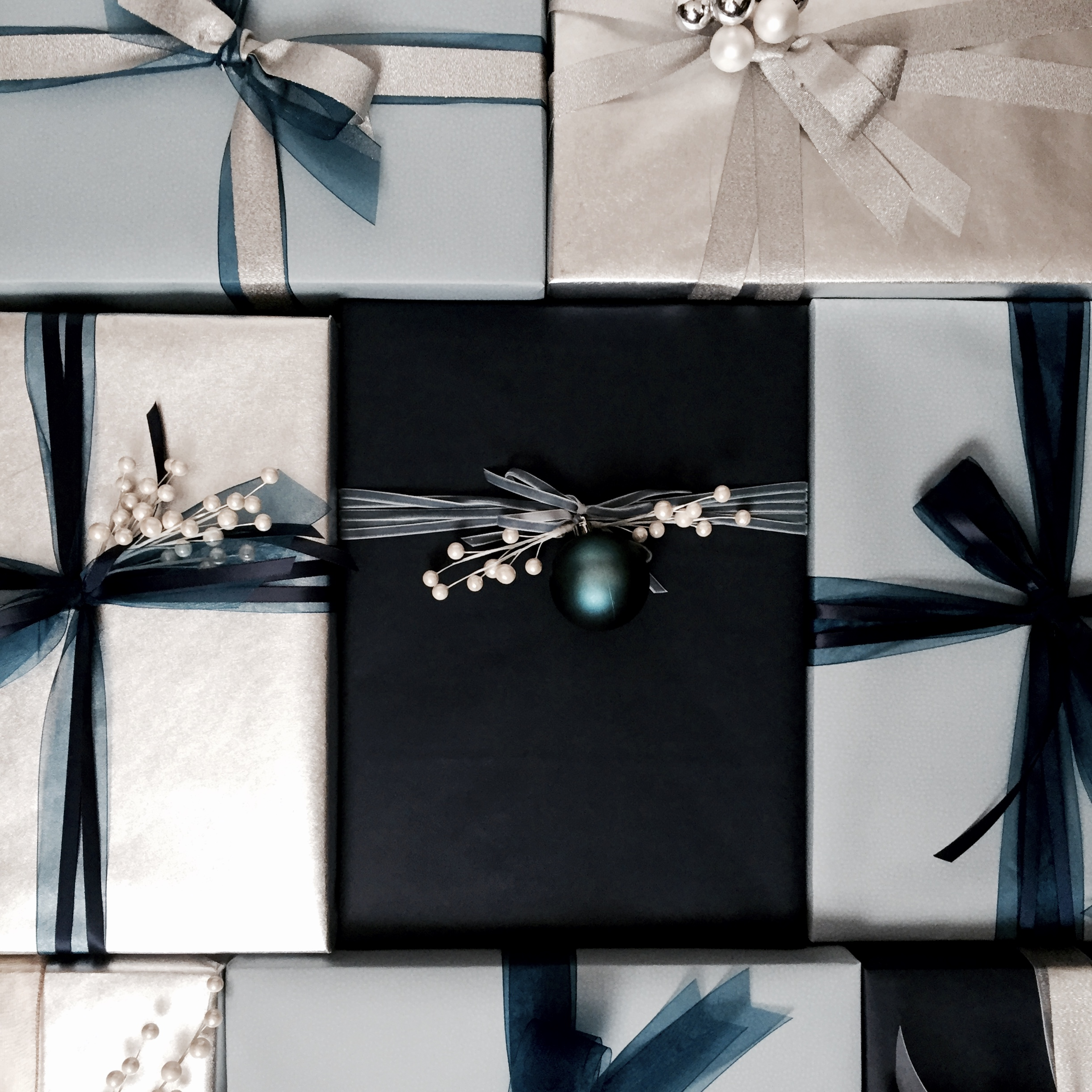 Silver and blue suite of gifts for Saks Fifth Avenue, wrapped by Corinna vanGerwen