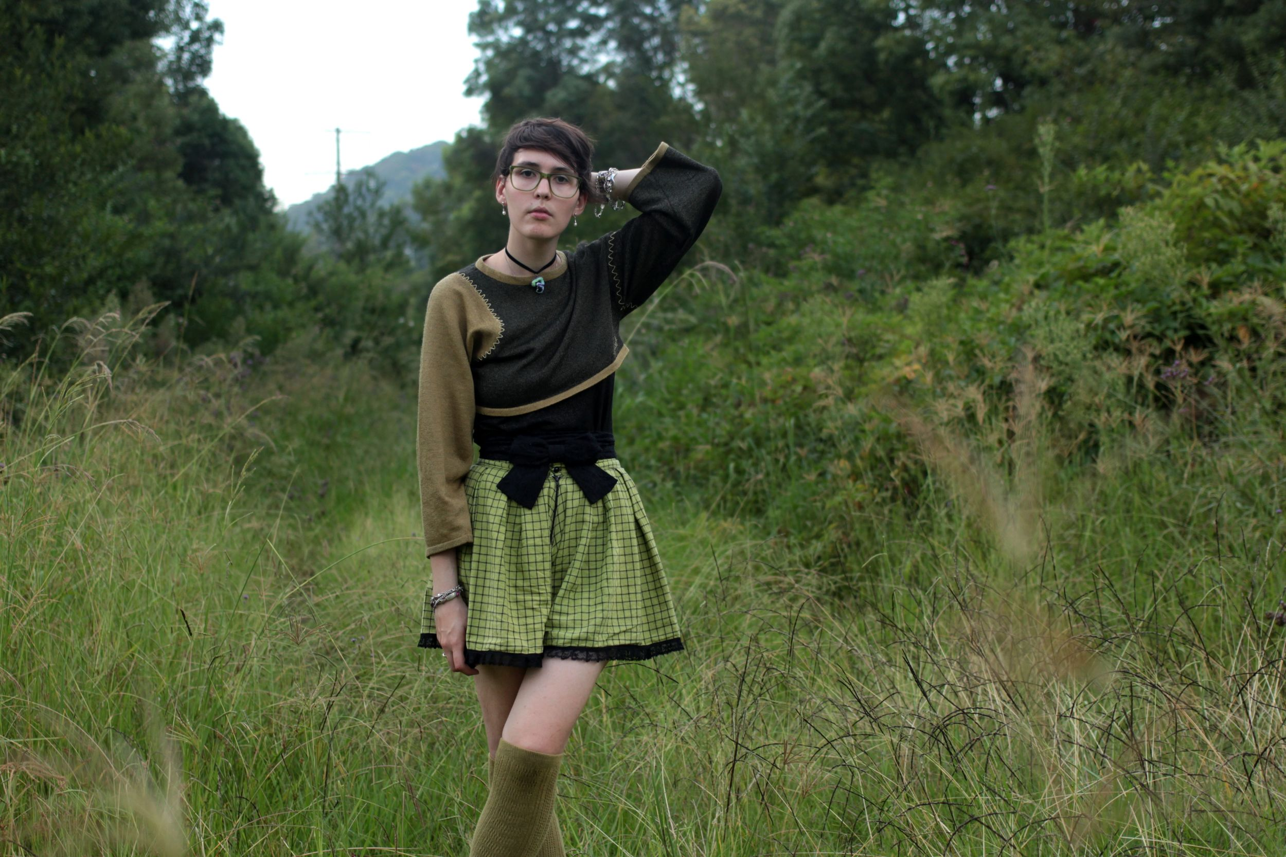 Jumper: Thrifted, Shirt: Cotton On Belt: Alannah Hill, Skort: Home Made, Socks: Gifted, Shoes: Dr Martens.