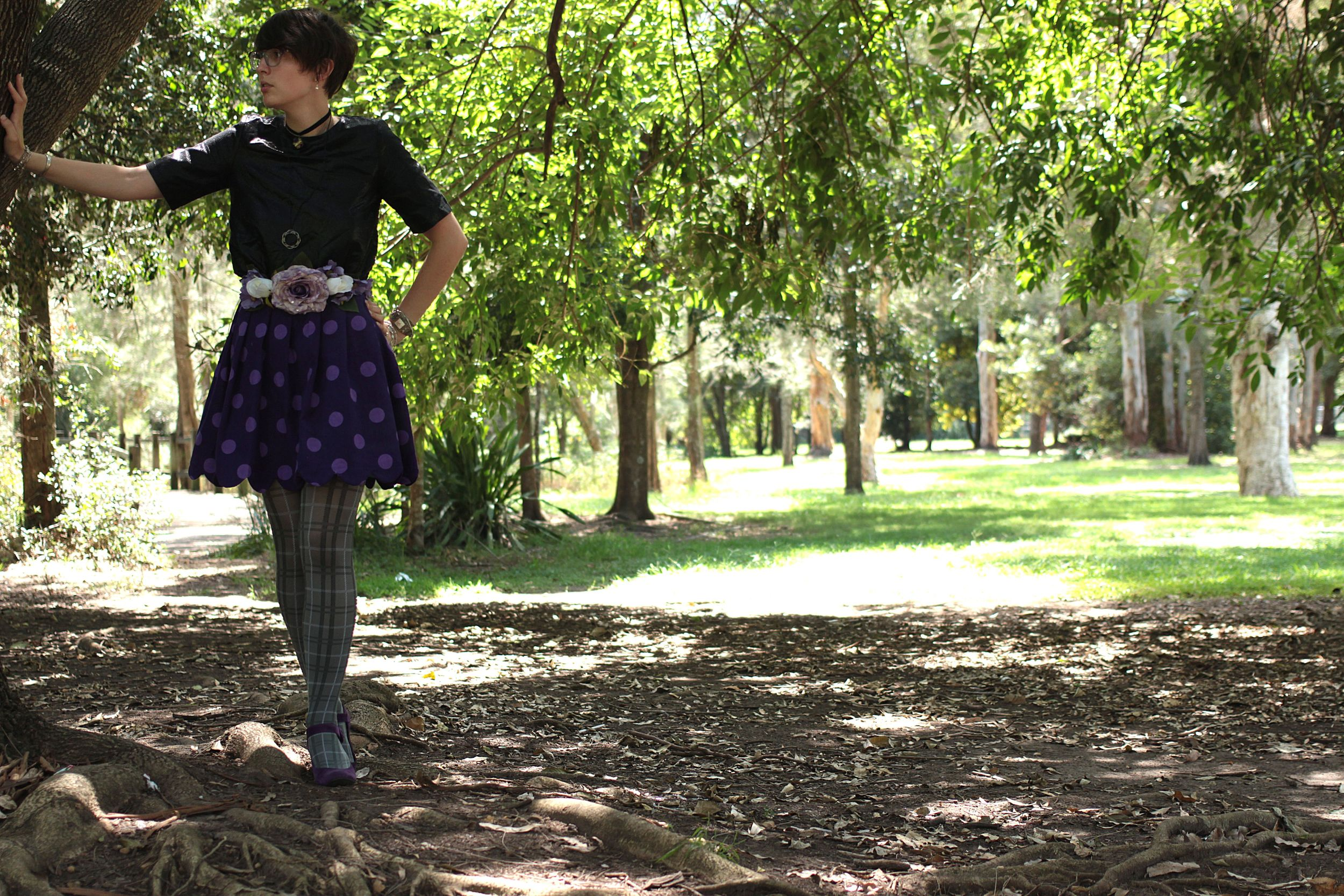 Shirt: Thrifted, Belt: Home Made, Skirt: Home Made, Tights: Myer, Shoes: Gift.