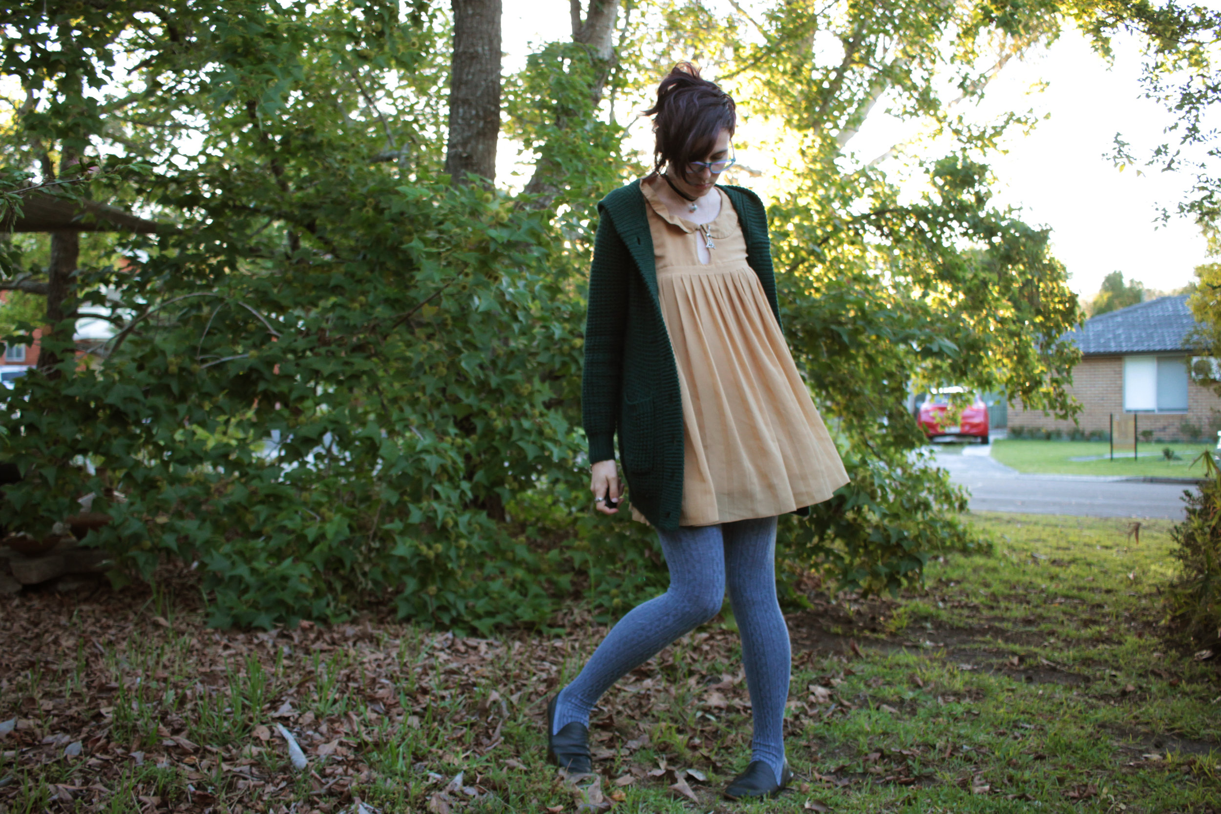Cardigan: Princess Highway Dress: Thrifted Tights: Ebay Shoes: Hand me down from mum