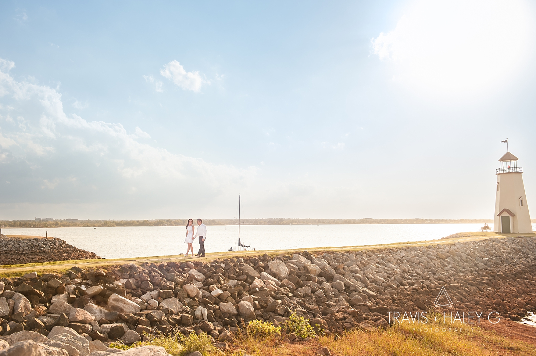 Lake Hefner Lighthouse Modern Oklahoma City Engagement Photography Travis and Haley G