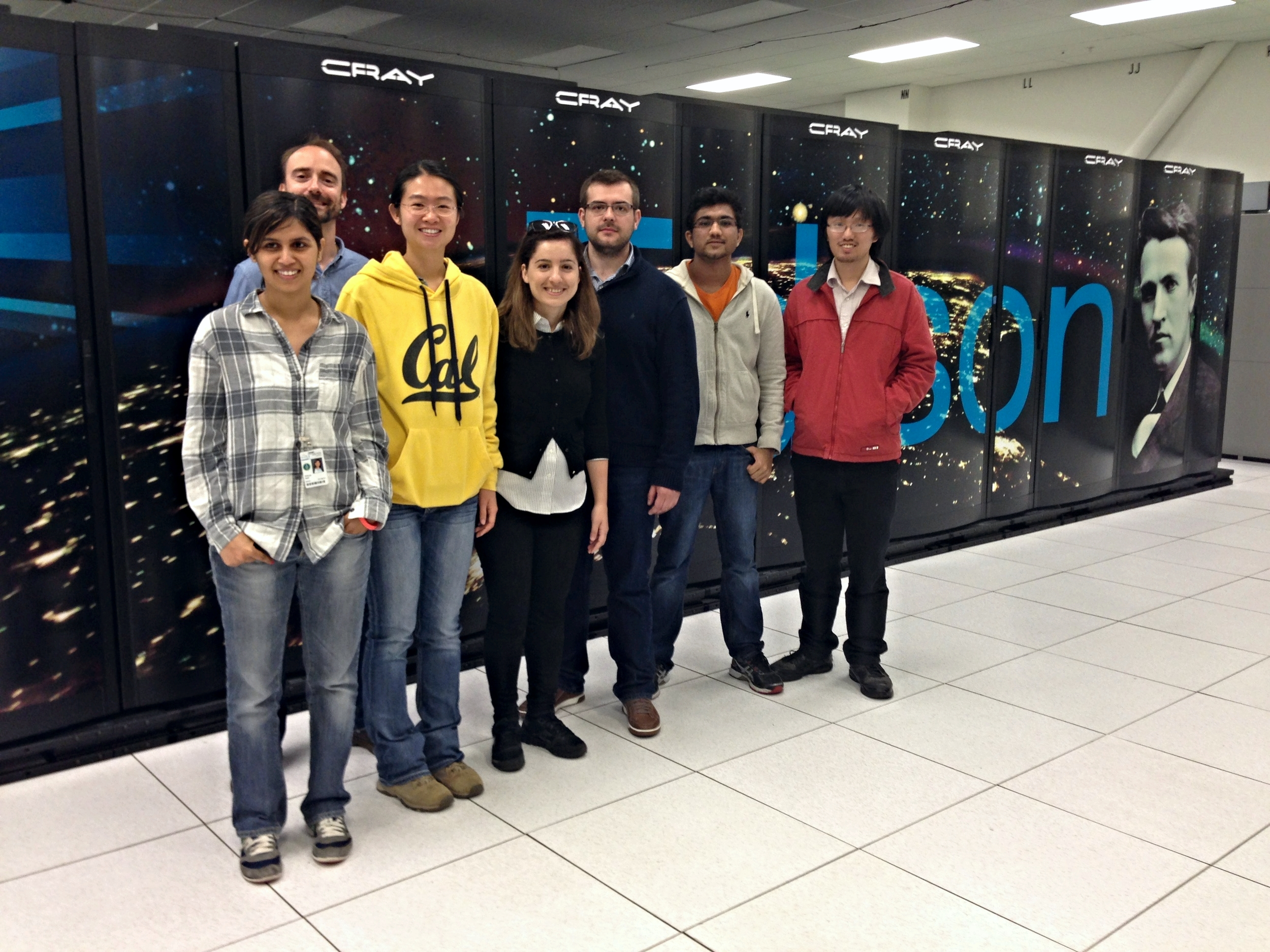 With fellow interns in front of Edison, one of the most powerful supercomputers in the world housed at the National Energy Research Scientific Computing Center in Oakland, CA.