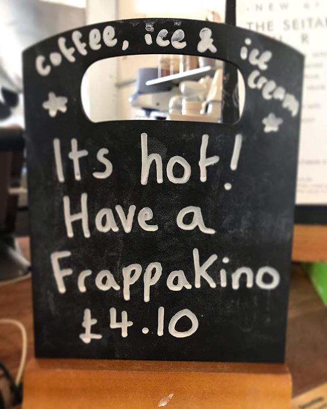 Hey! We got you covered this sunny day ☀️with the return of our classic FrappaKino! Coffee, ice & ice cream, what more could you want! ❤️☀️ #vegan #coffee #frappuccino