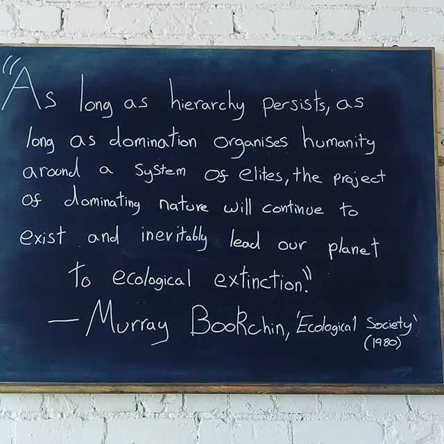 Social Ecology vibe! Murray Bookchin wrote such works as 'Ecology Of Freedom' which argues that the ecological crisis we are facing at the moment originates from the social crisis of domination, hierarchy and class. Let's change this world! #SocialEcology