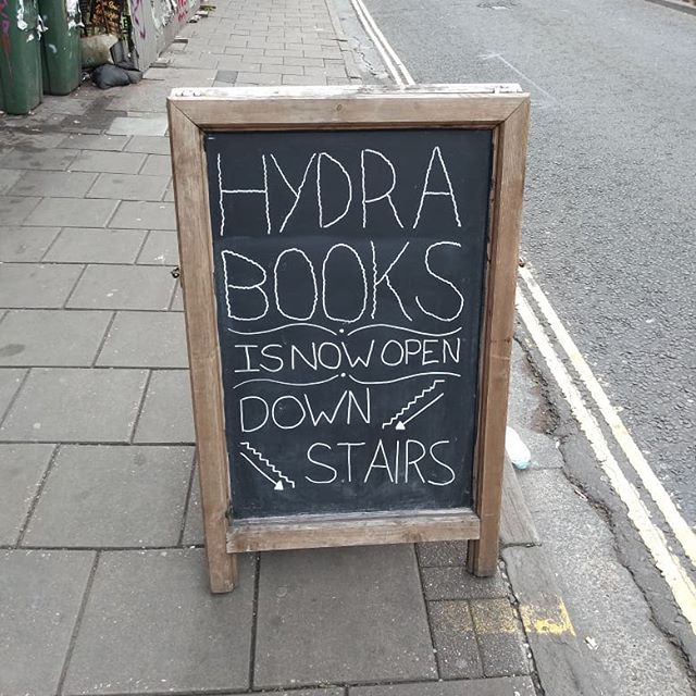 We have a new member of the Kino family. OPENING TODAY.  Hydra books was beheaded by the sword of gentrification but has come back twice as strong in the Kino basement.  Now you can get,not just the most delicious vegan food and drink in Bristol but also the most delicious radical literature you can feast your eyes on!  It will be open most afternoons, feel free to call ahead if you want to double check before you head down, we're still finding our rhythm.