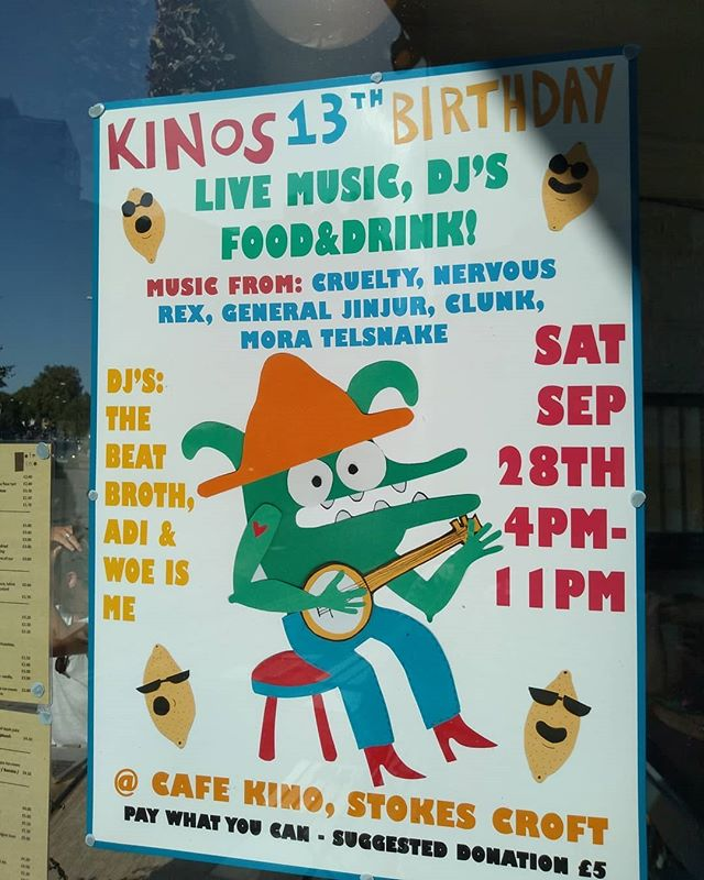 Have you noticed that Cafe Kino has been moodier than usual?  And that we've started hanging out with older rougher Café?  Well that's because we're a teenager now JUST LET US LIVE OUR LIFE OK!! Why not come along to our birthday party on Saturday 28th September. There is gonna be dancing and good times. We can't wait to see you!!!