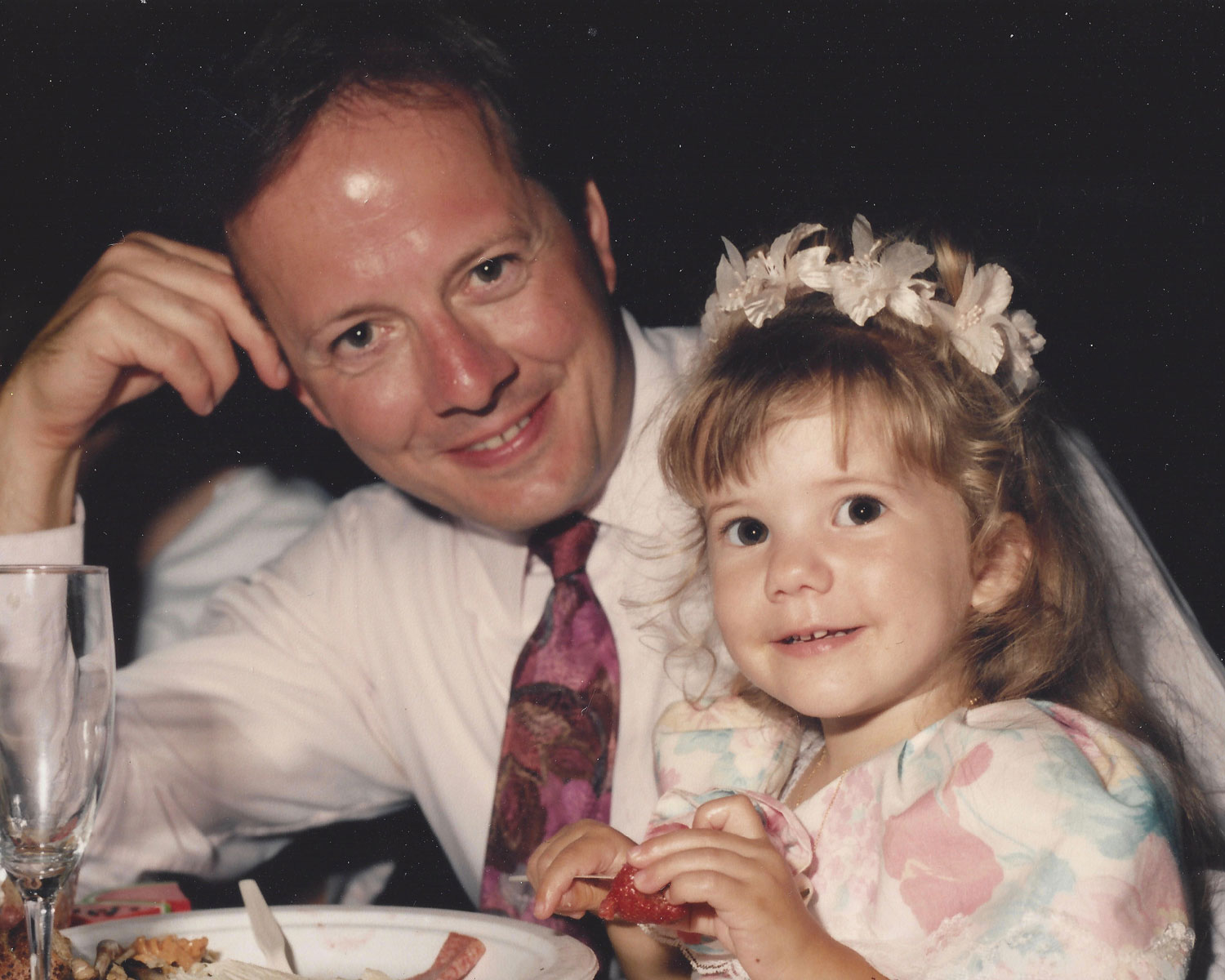 Katlyn and Dad at a wedding where she was a flower girl