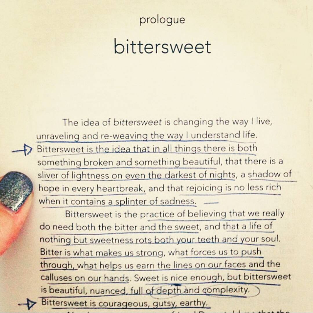 Photo courtesy of Heather Edwards - Book:  Bittersweet  by Shauna Niequest