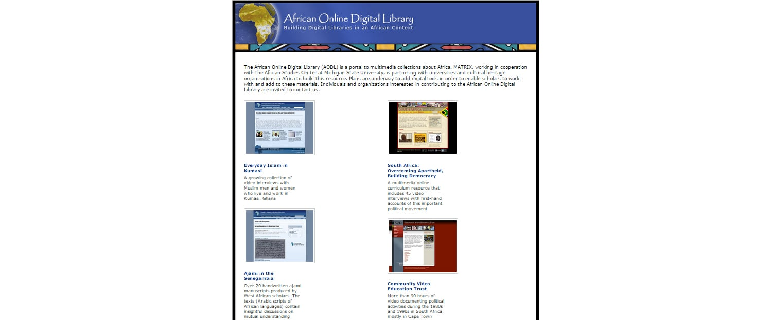 BEFORE  |   The current portal used by MATRIX to direct users to credible resource sites containing Africa-related multimedia archives. Lacks organization, detail, and interaction.