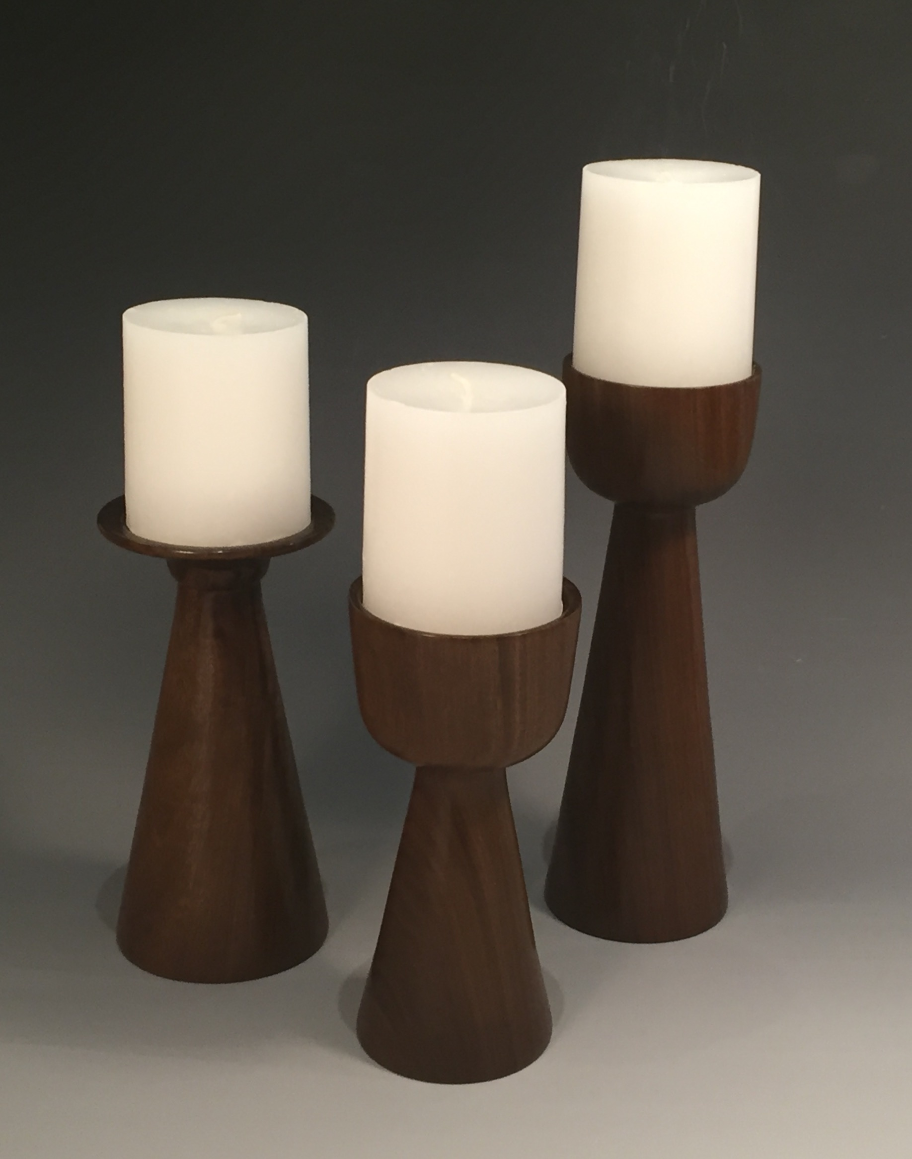 Epo wood candlesticks.