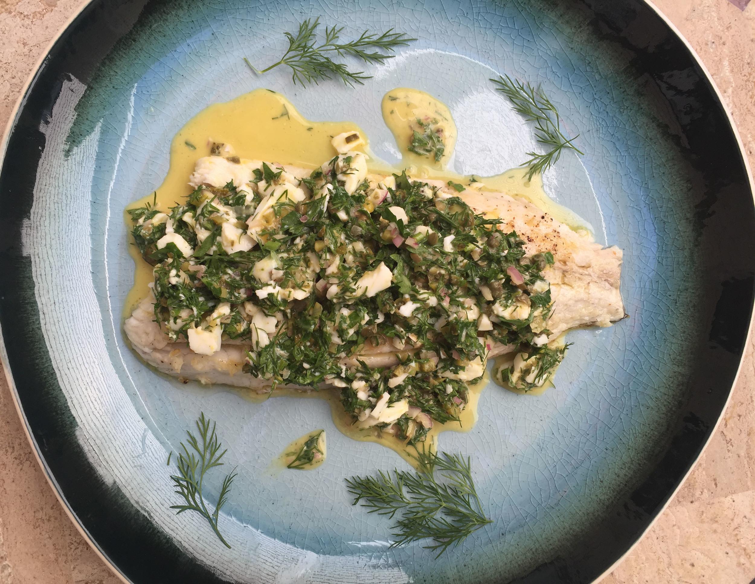 Seared barramundi with new-wave sauce gribiche