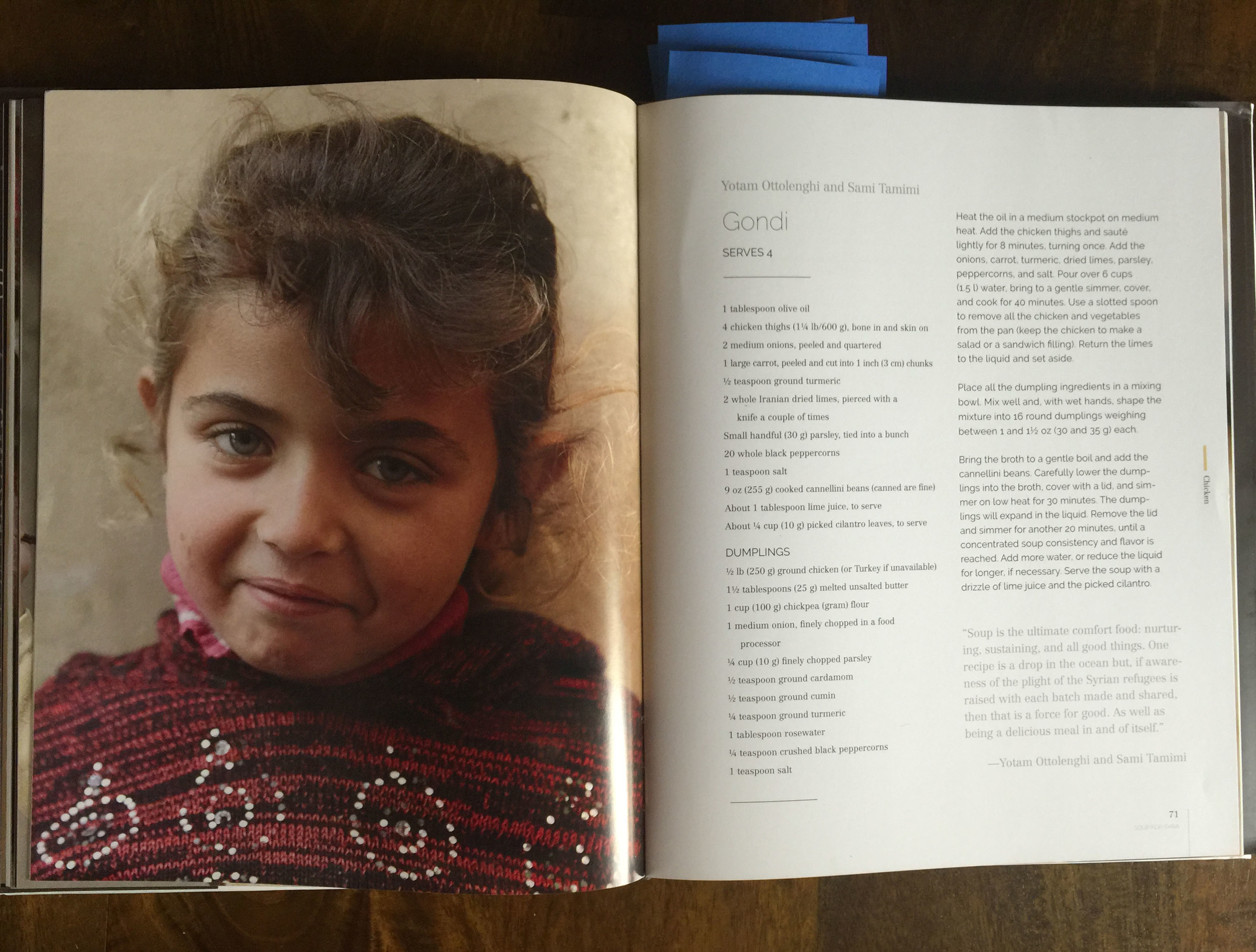 A photograph of a girl in a refugee camp faces a recipe for gondi by Yotam Ottolenghi and Sami Tamimi
