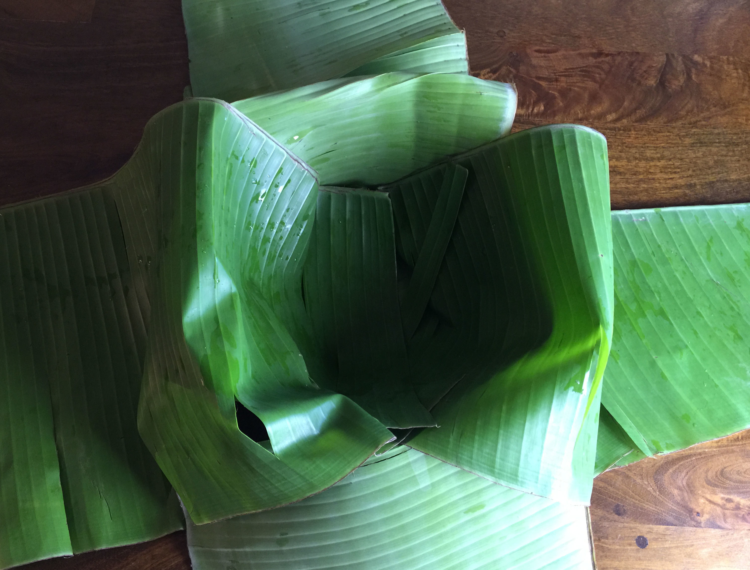 Banana leaves lining the Dutch oven