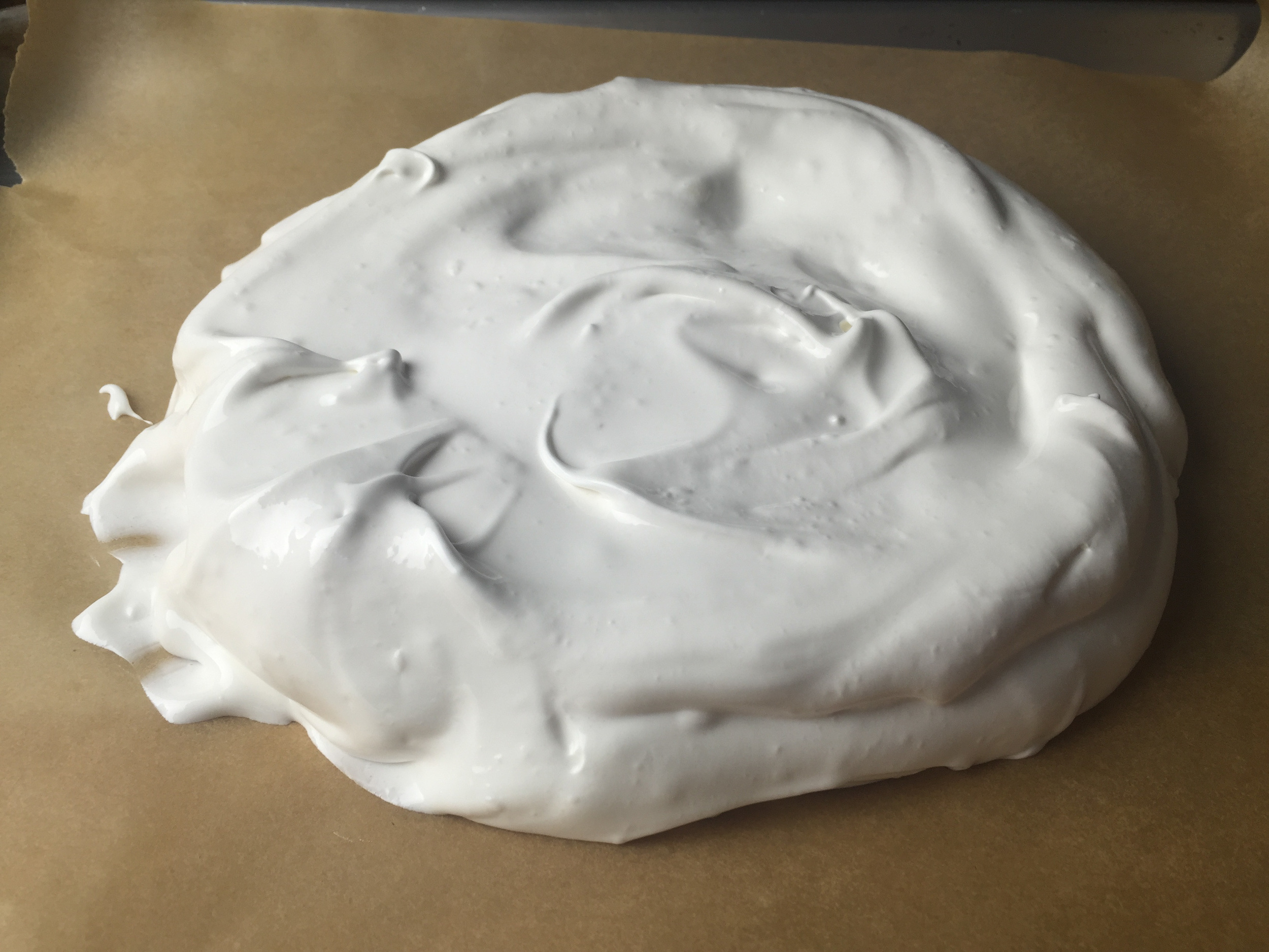 The Pavlova, ready to go into the oven
