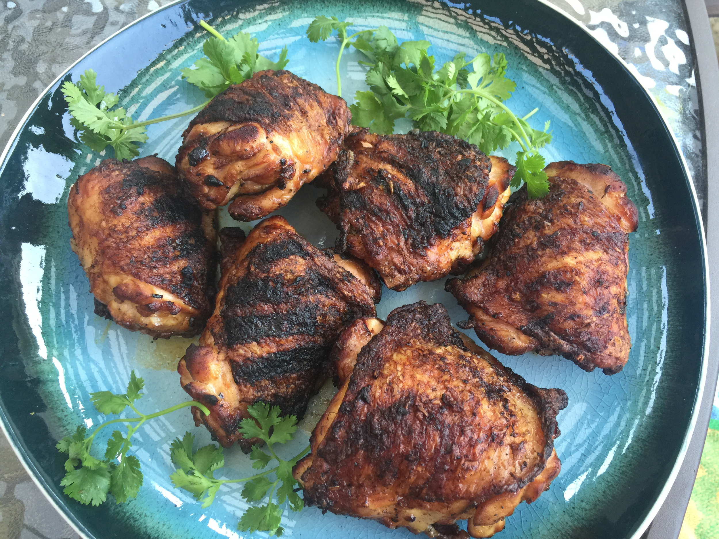 Crispy-skinned Asian grilled chicken thighs