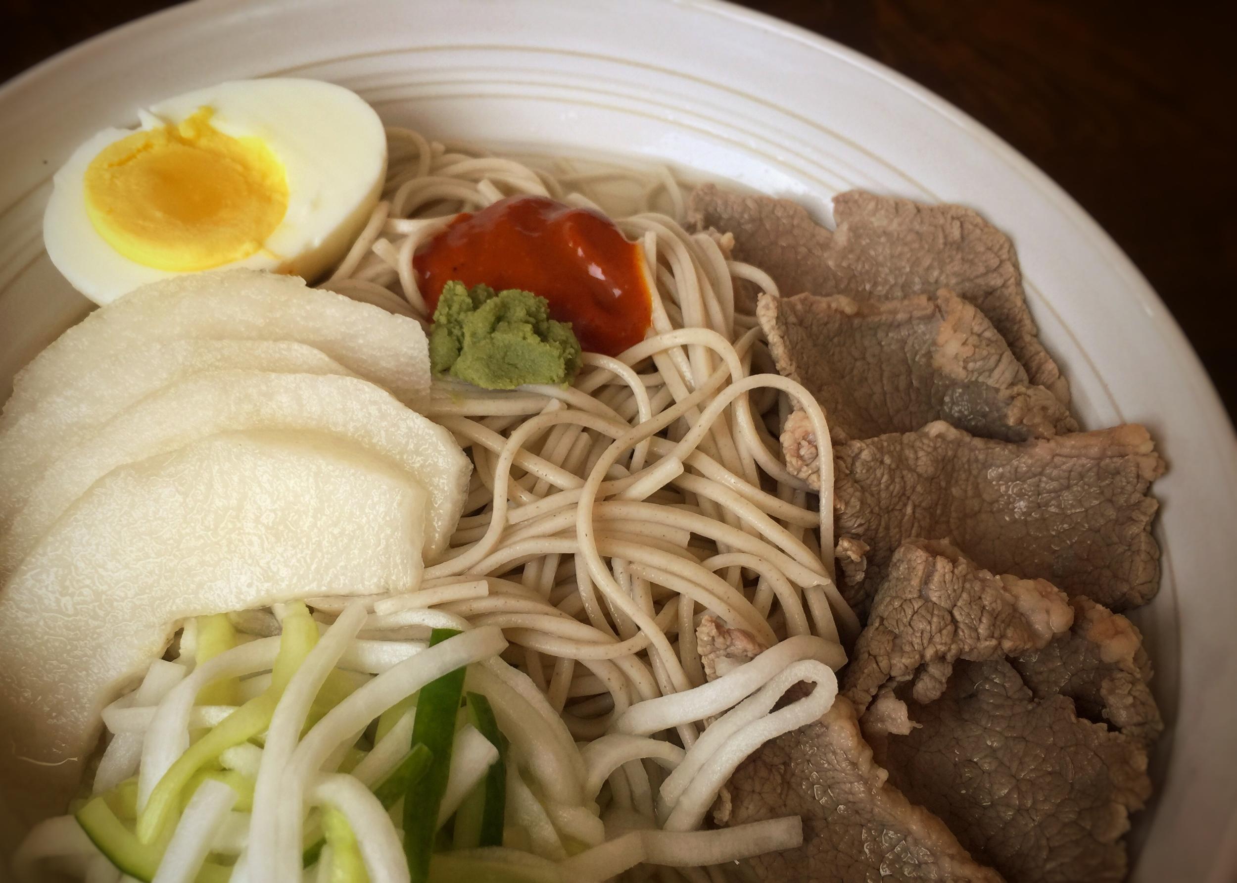 Korean cold buckwheat noodles with brisket