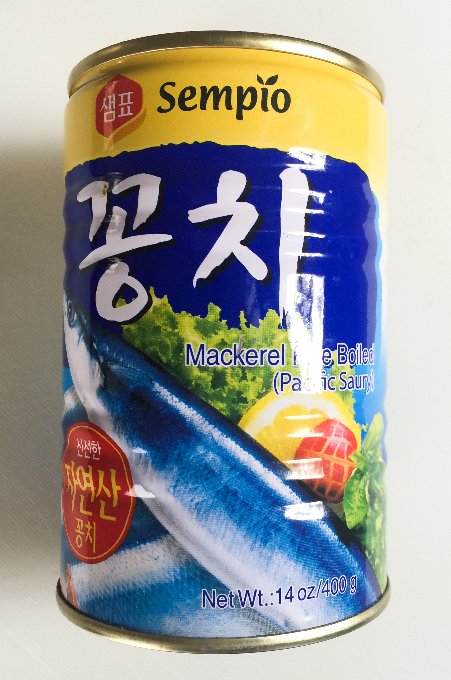 A can of Pacific saury (mackerel pike)
