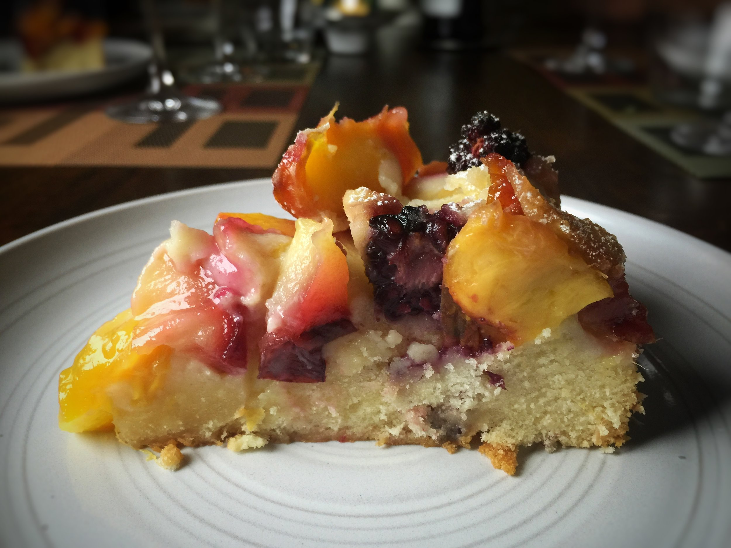 Summer fruit and almond cake