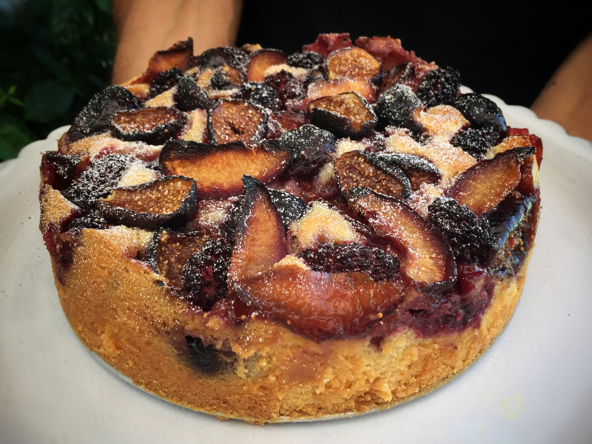 Autumn fruit and almond cake