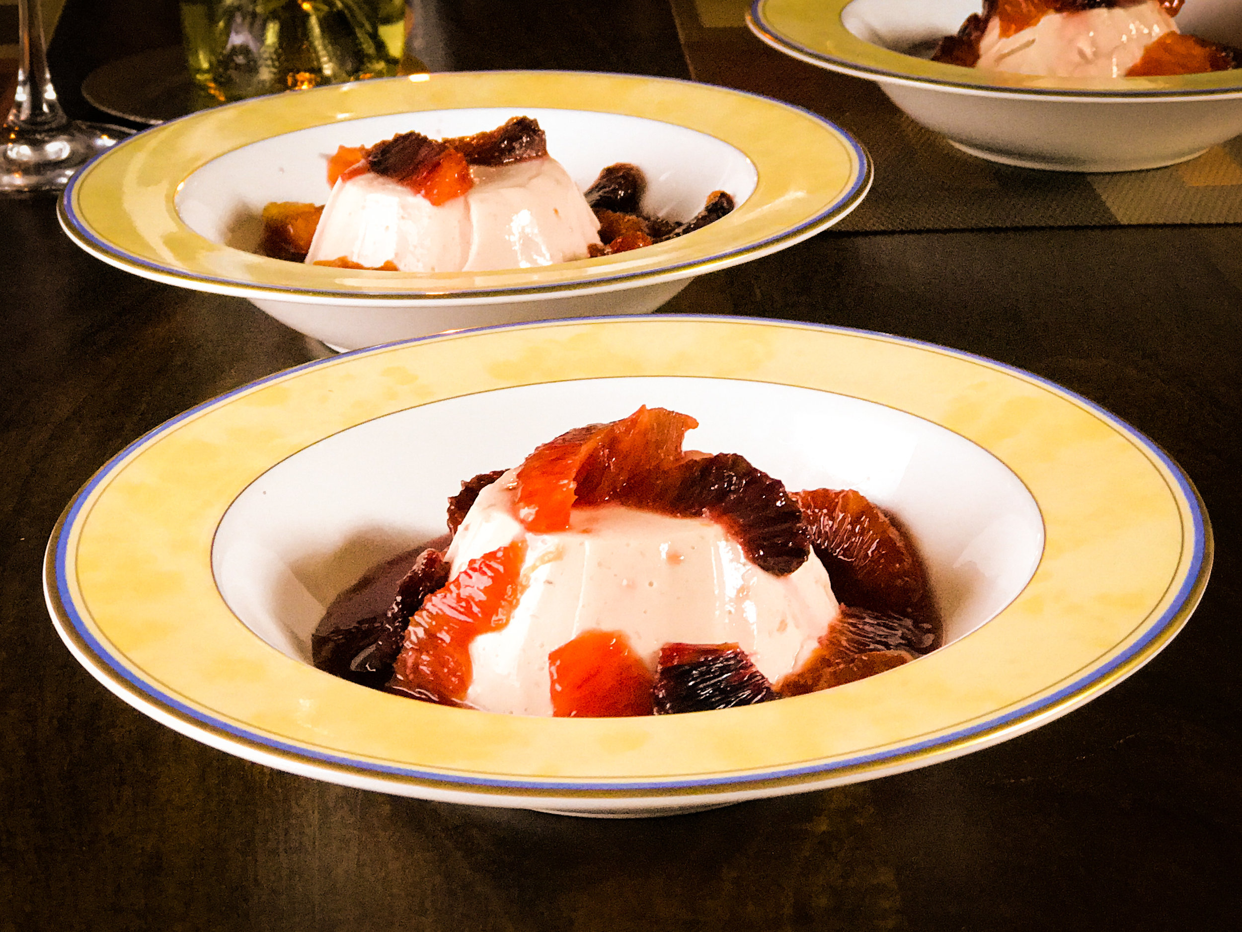 Cooks Without Borders' blood orange panna cotta with blood orange compote