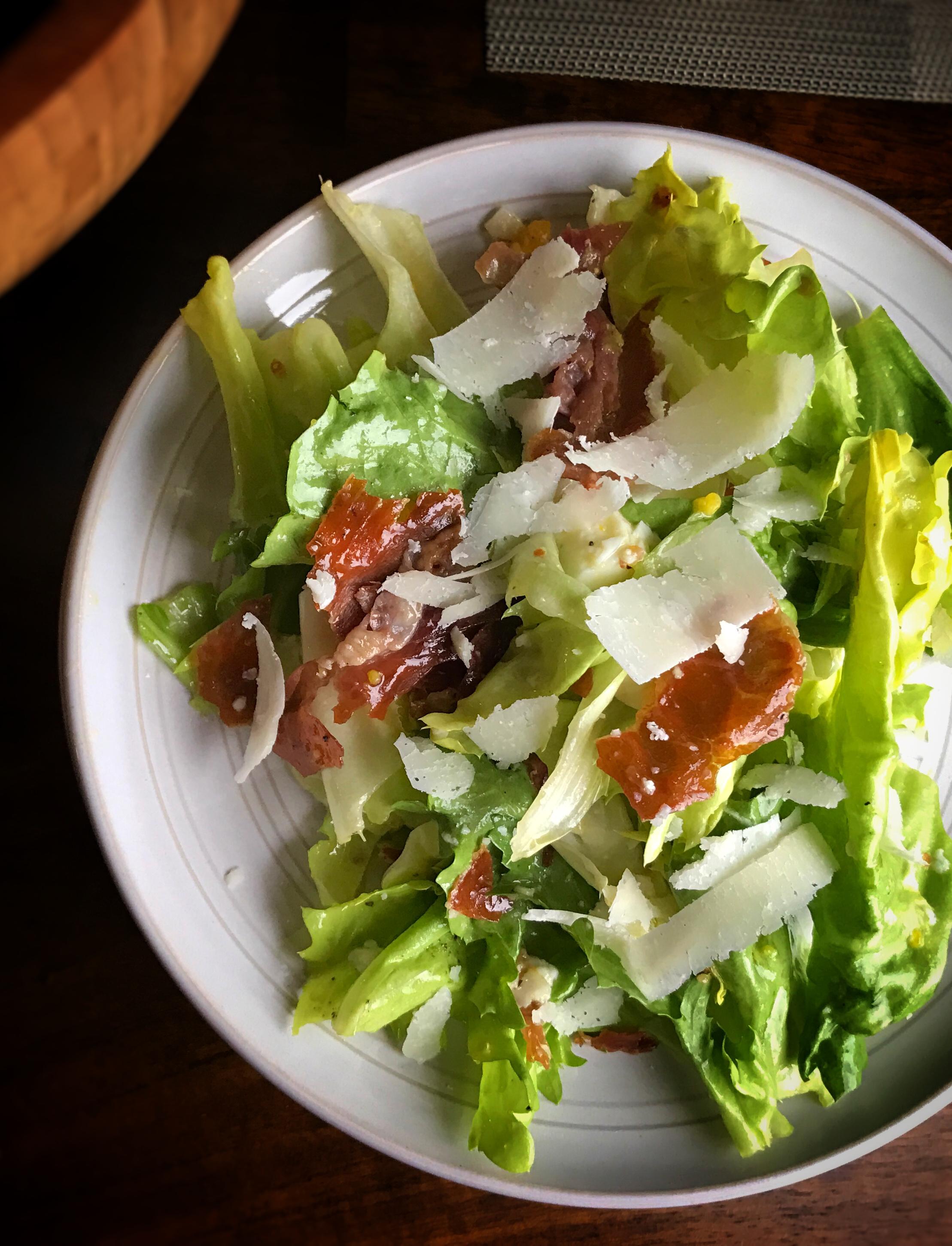 Escarole Salad with Crispy Prosciutto, Egg and Parmesan