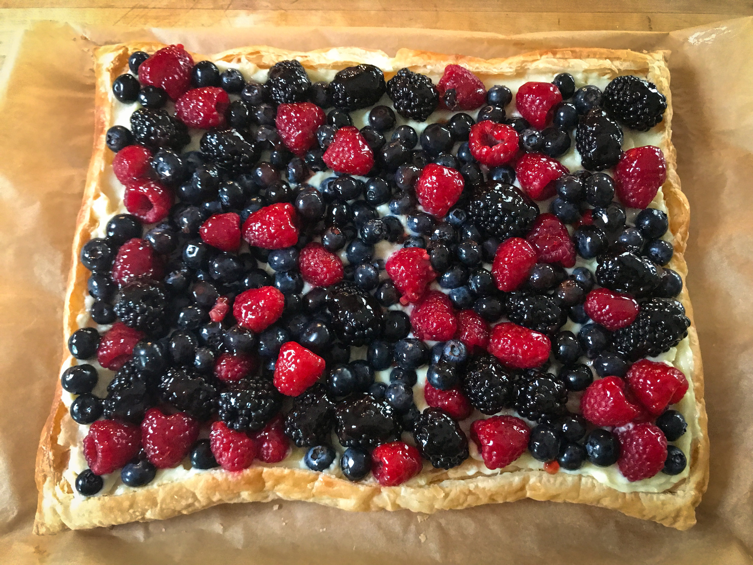 Easy berry tart. How festive would this be for the Fourth of July -- or Bastille Day?