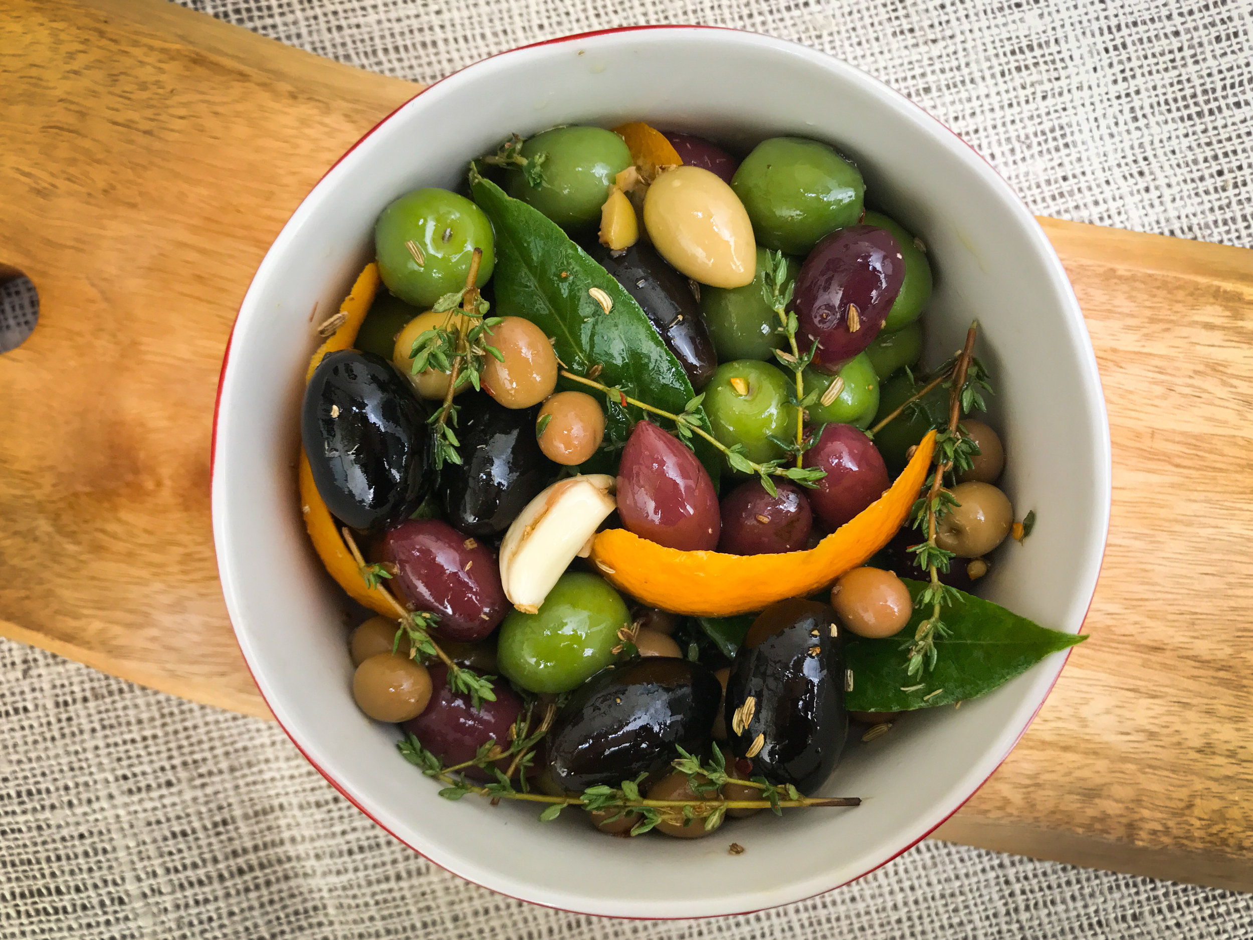 Mikie's marinated olives can be made the night before.
