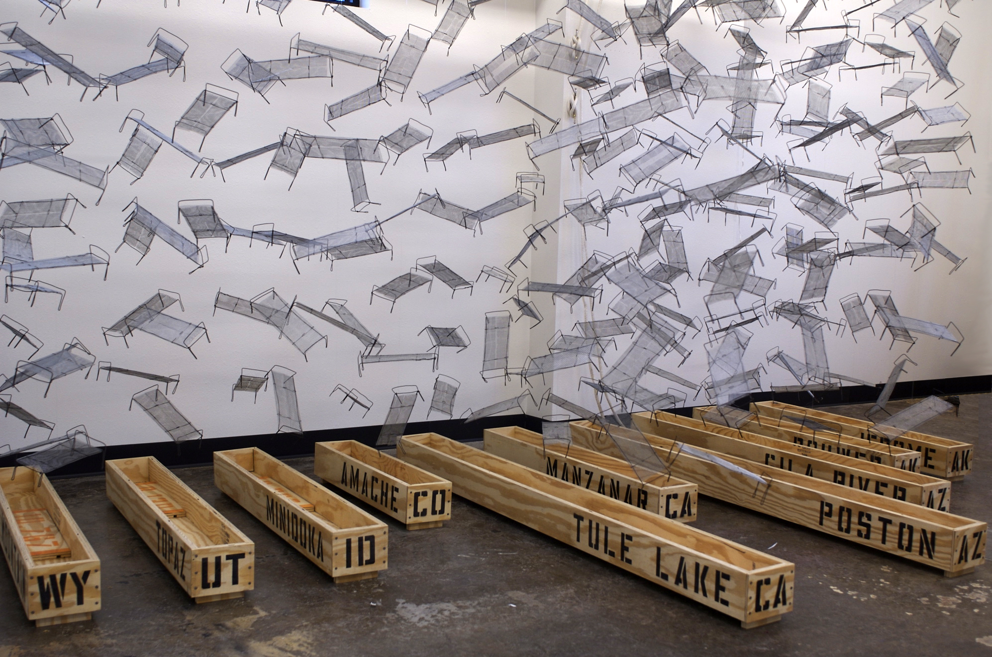 Life Interrupted: The Internment Camps, plywood, wire, wire mesh, spray paint, 6' x 11' x 7'