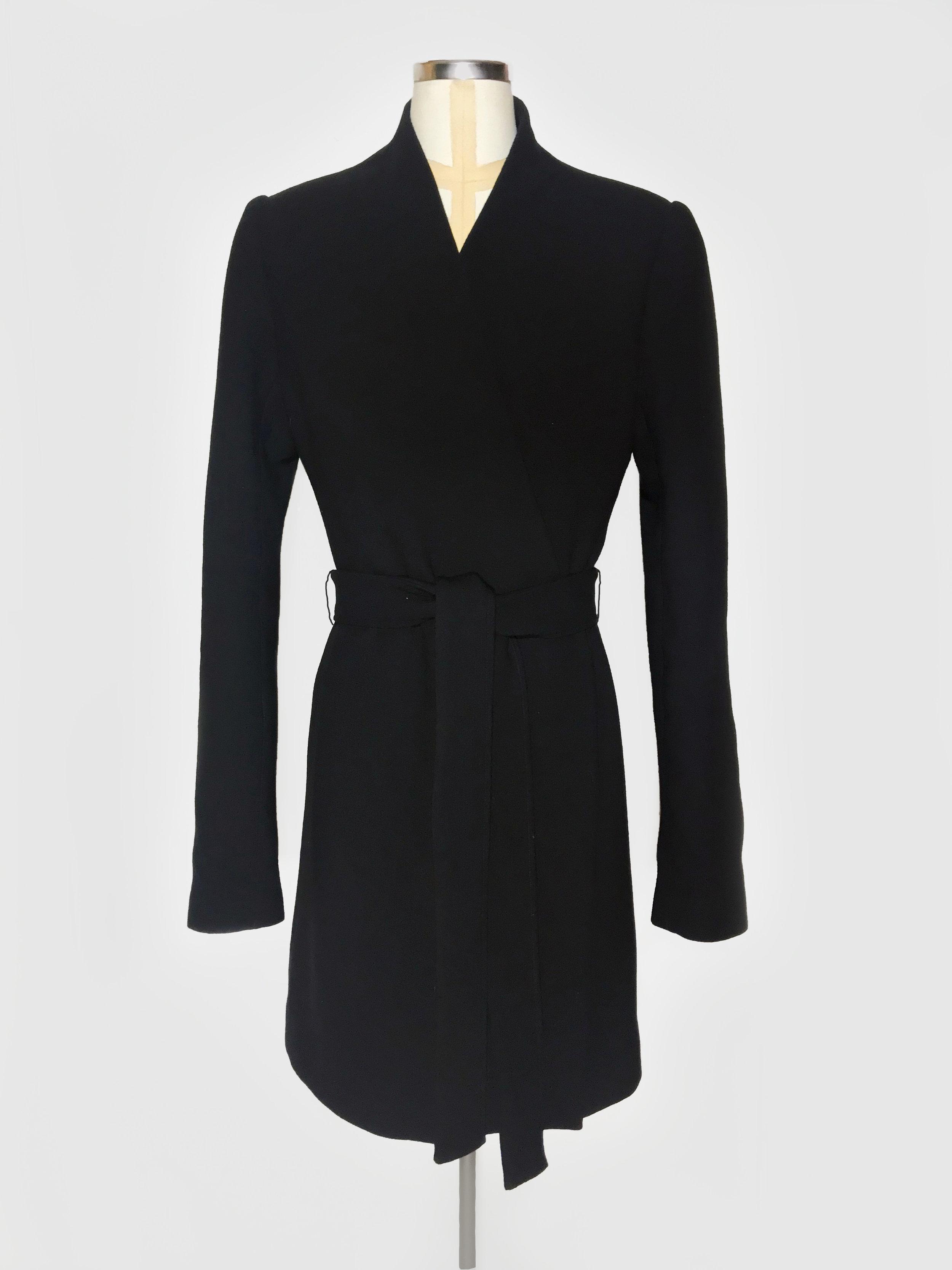 Wool coat with waist belt