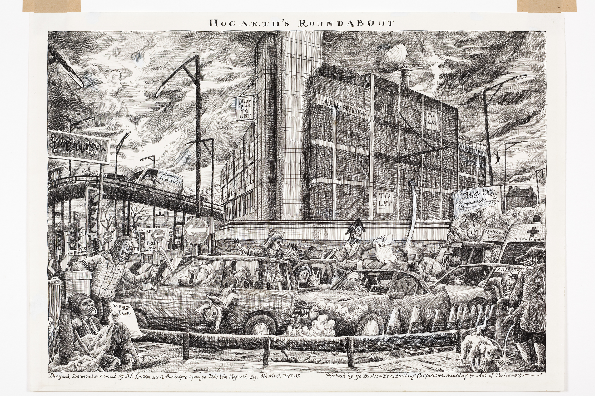 """Copy of Artwork by Martin Rowson """"Hogarth's Roundabout""""."""