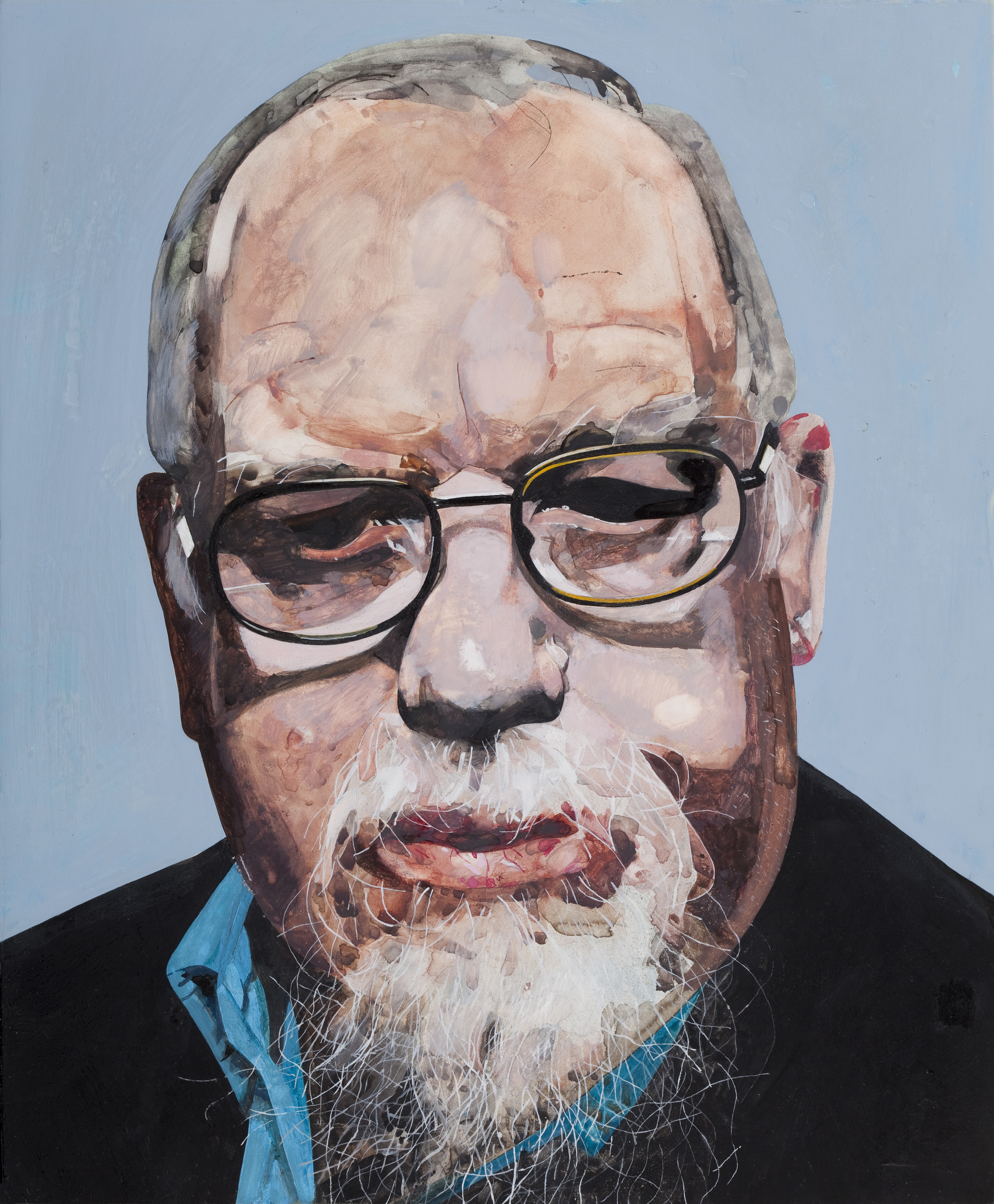 Copy of self-portrait by Sir Peter Blake.