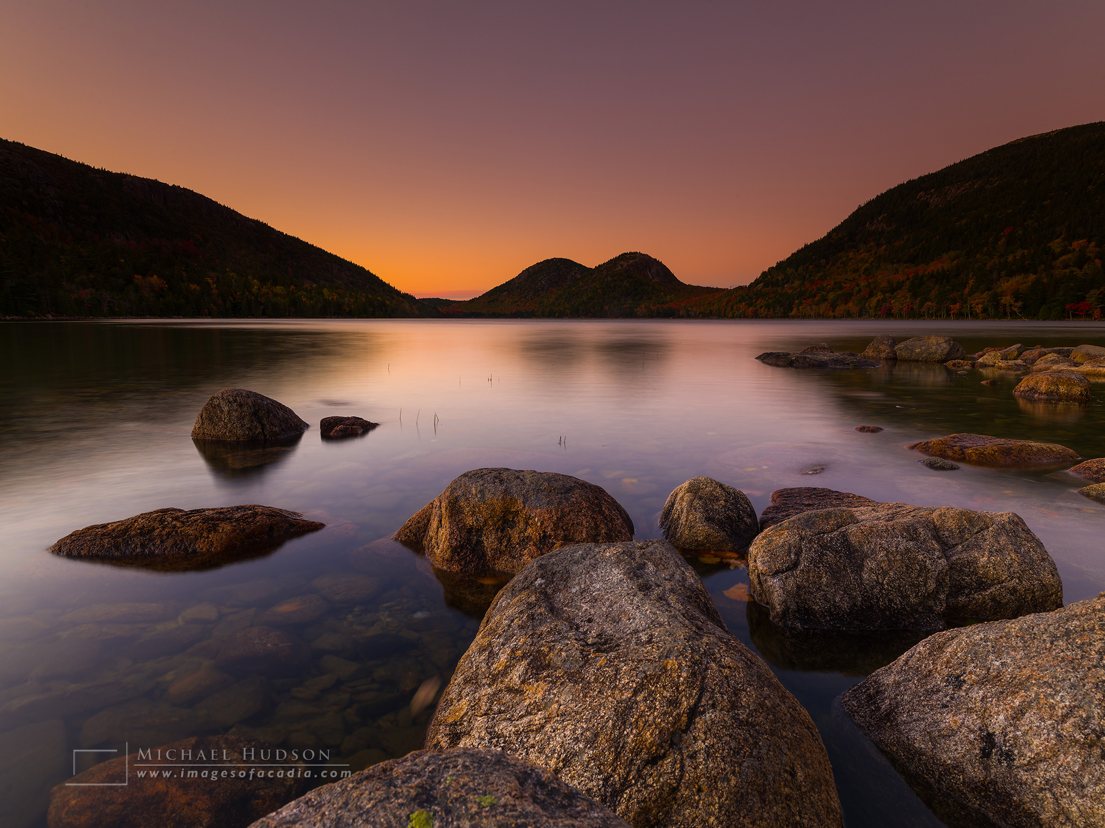Sunset at Jordan Pond, Acadia, October 2018