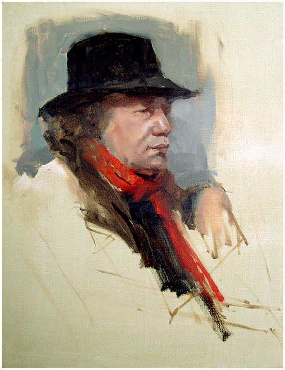 Portrait with Red Scarf