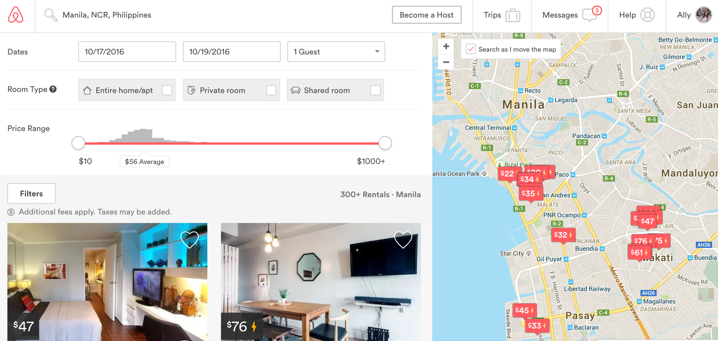 The search function and map make finding a place really easy - this screenshot shows some Airbnbs in Manila, Philippines