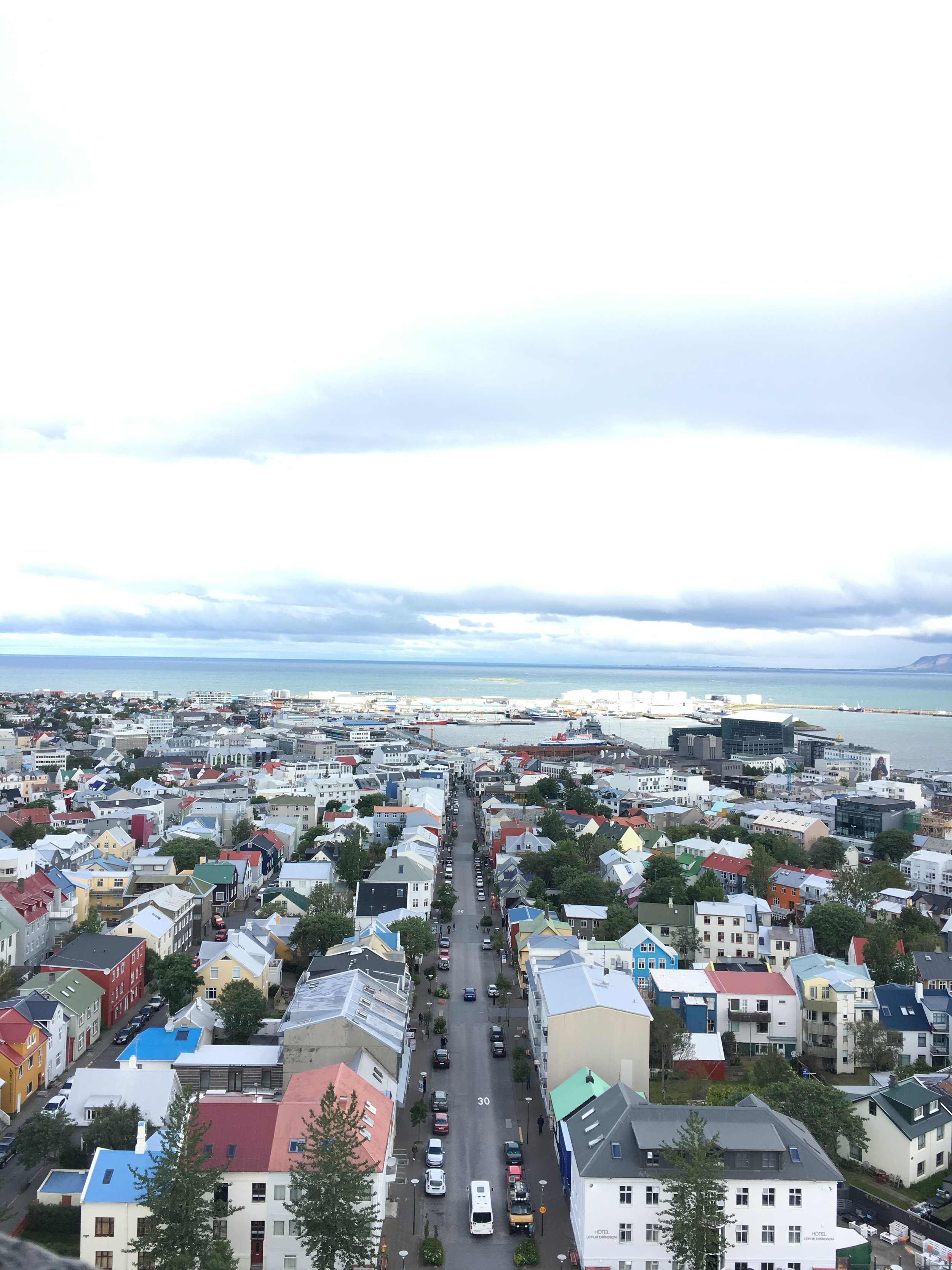 The famous view from atop Hallgrímskirkja church