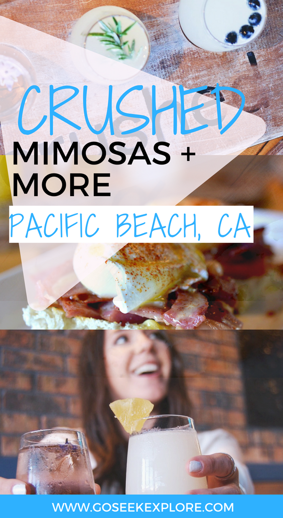 Where to find flavored mimosas (like lavender or pear) in San Diego! This restaurant serves brunch, lunch, and dinner and is a must if you're in Pacific Beach, California. Click through to get a peek!