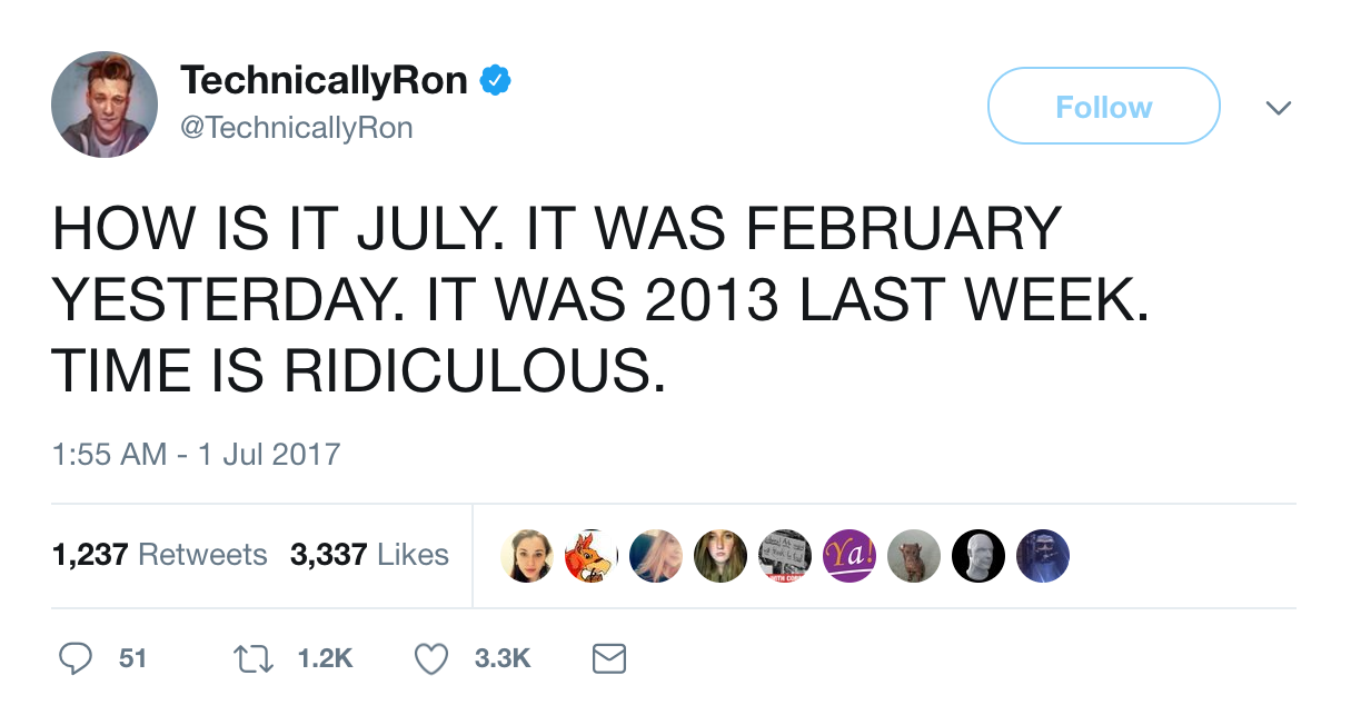 @technicallyron time flies tweet
