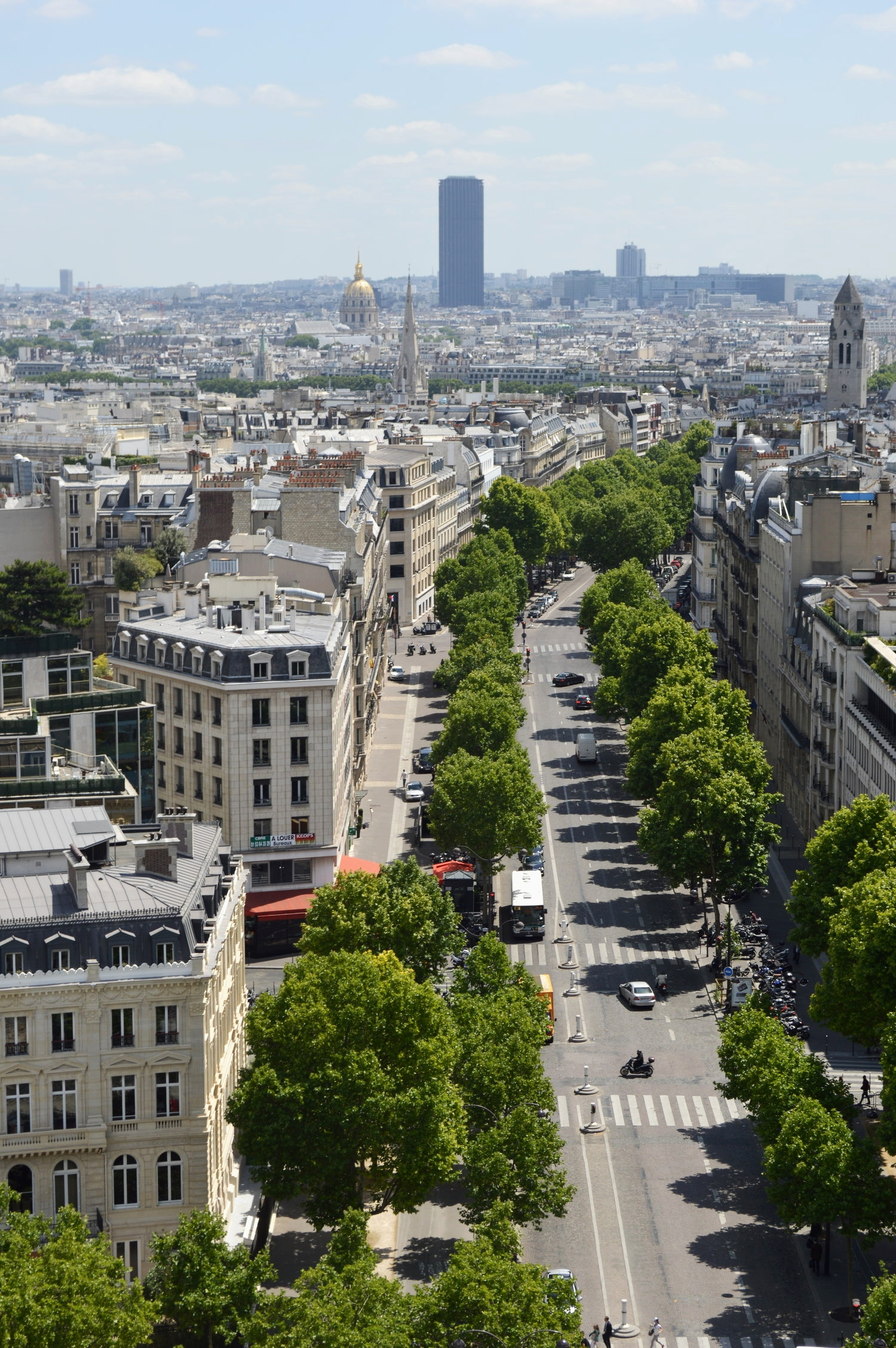View from the Arc de Triomphe in Paris, France