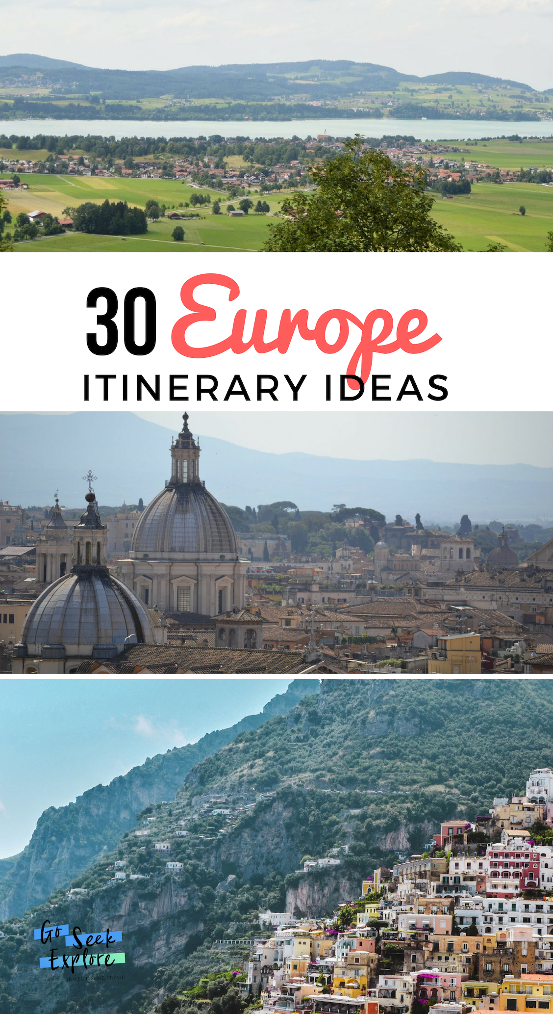 This is a great list of 30 Europe itinerary ideas - great for those traveling to Europe for the first time! This list is split up by region (Western Europe, Eastern Europe, Mediterranean, etc.) ranging from simpler itineraries to longer ones! / goseekexplore.com