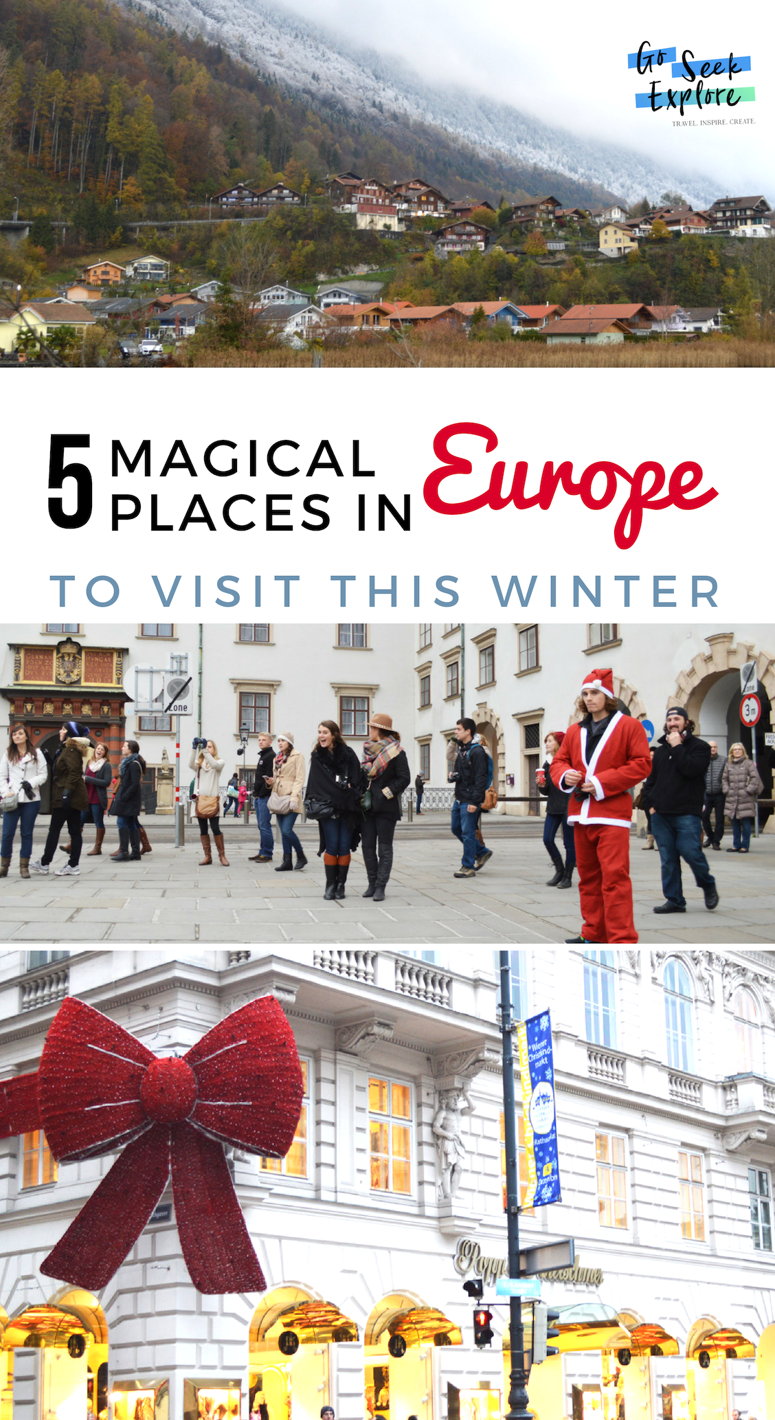 Europe's most magical winter destinations! if you're taking advantage of travel this winter, consider these destinations known for being a perfect winter wander-land. Also, winter is the off season for Europe in general, so you're more likely to find less expensive accommodation, cheaper flights, and have shorter lines at popular attractions! / goseekexplore.com