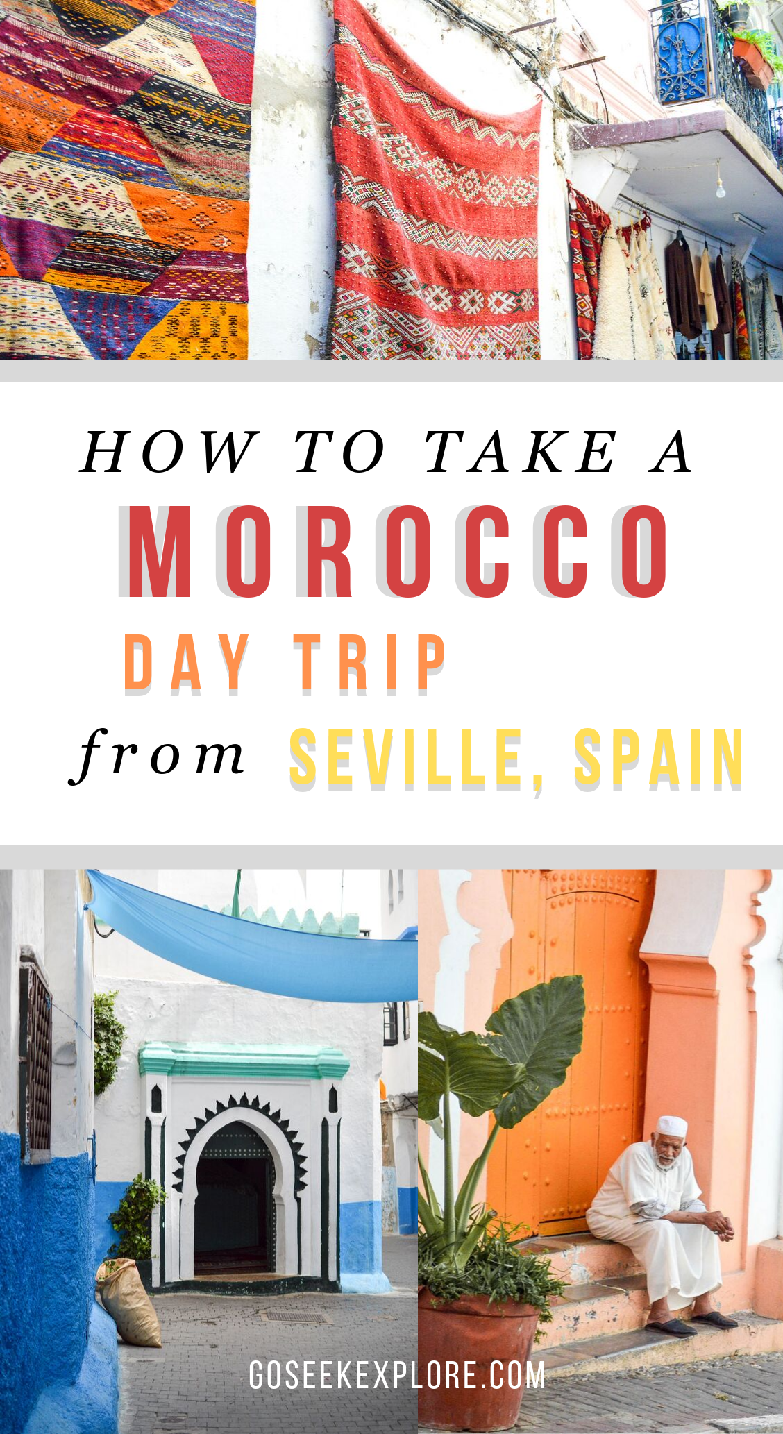 How to Take a Morocco Day Trip from Seville, Spain! Traveling to Morocco's northern coastal town of Tangier is just a short ferry ride from Southern Spain. Here's how we did our day trip, plus advice and tips for you! goseekexplore.com #morocco #moroccotravel #traveltips #seville #spain #europetravel