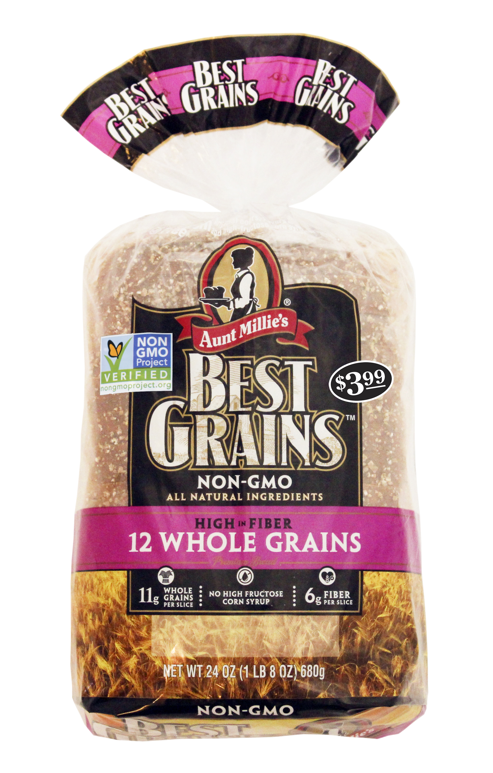 Fiber for life, plus more.  - Aunt Millie's Best Grain's breads are truly the best. Each slice contains: 100 calories, 0g trans and saturated fat, reduced sodium, 10g whole grains, no high fructose corn syrup, and 6g of fiber.