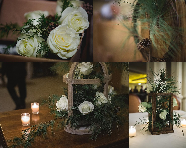 Winter rustic wedding decor