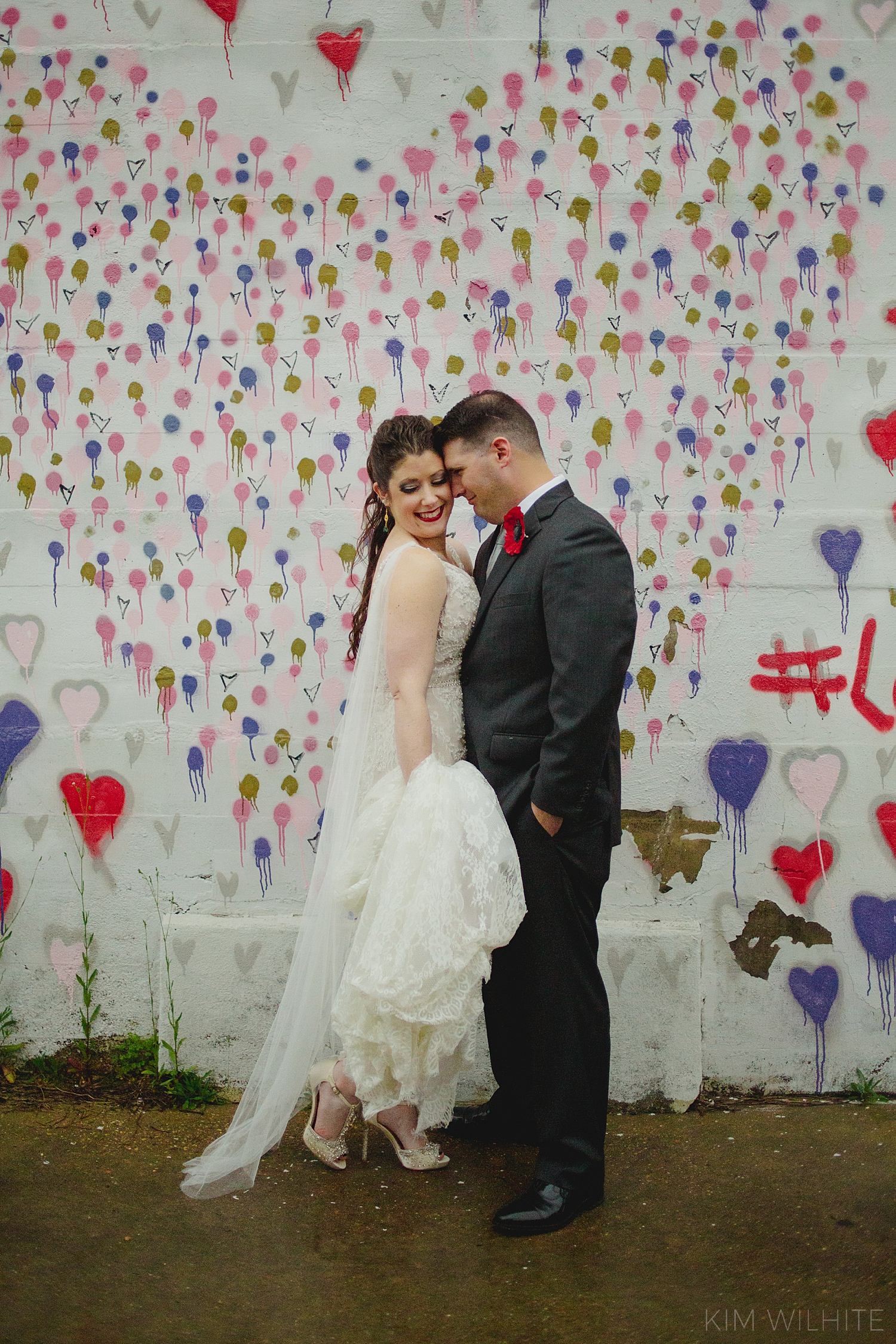 Graffiti Wall Bridal Photo