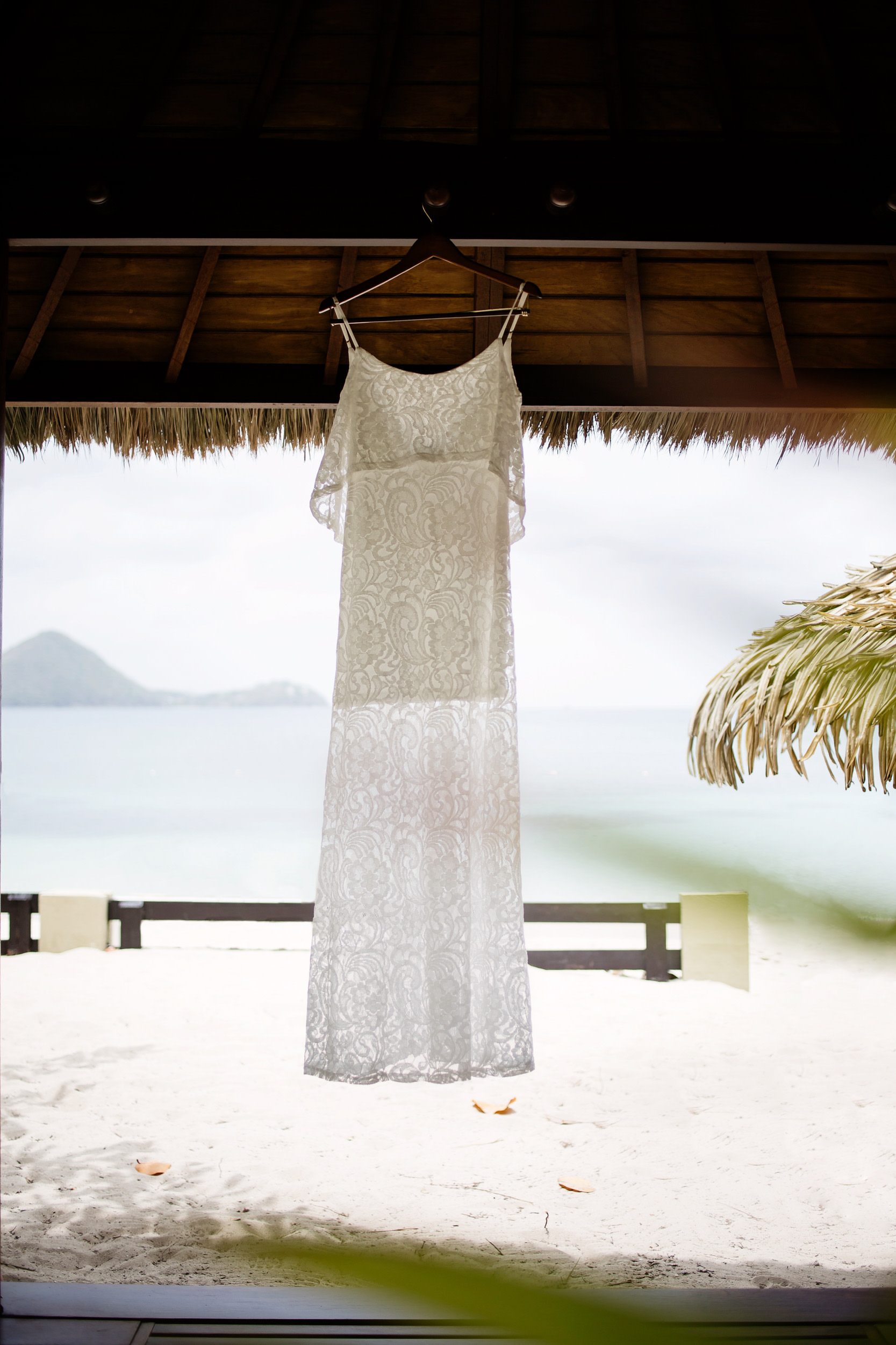 Wedding dress hanging in a private cabana at Sandals Grande in St Lucia.