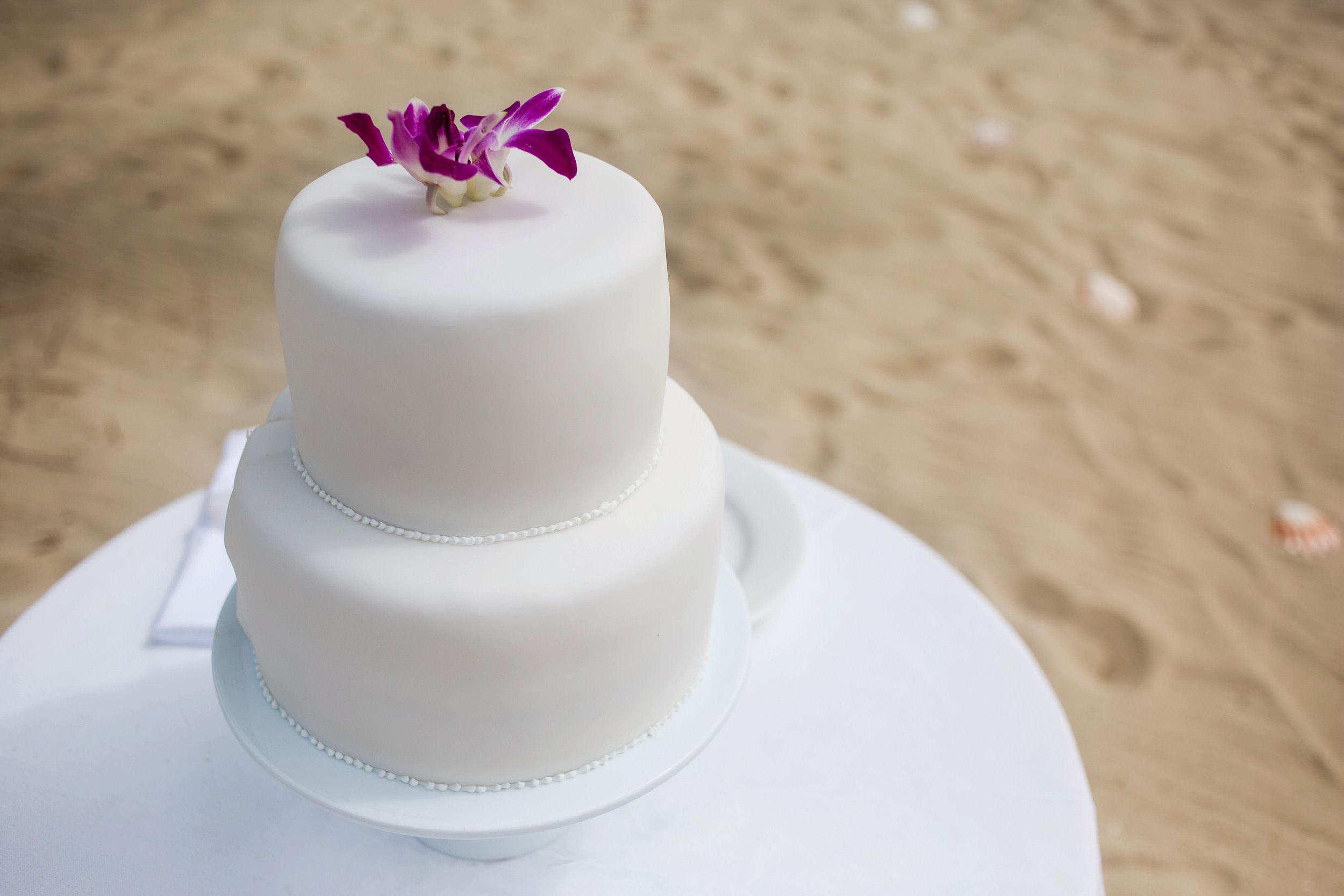 Wedding cake provided by destination wedding venue.