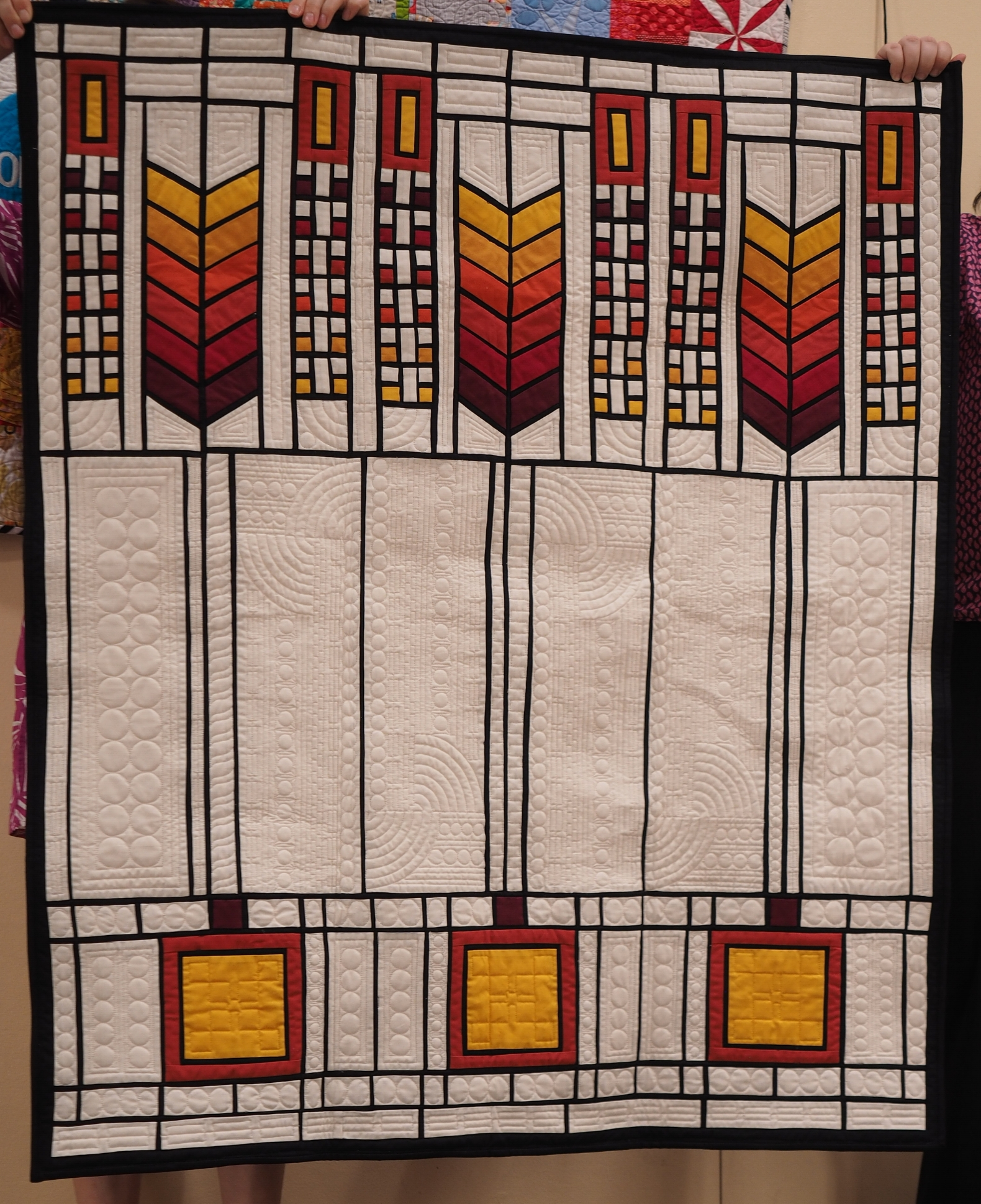 Emilie Kahn  Tree of Life  @patchworkninja  Frank Lloyd Wright Pattern  Quilted by Nancy Stovall