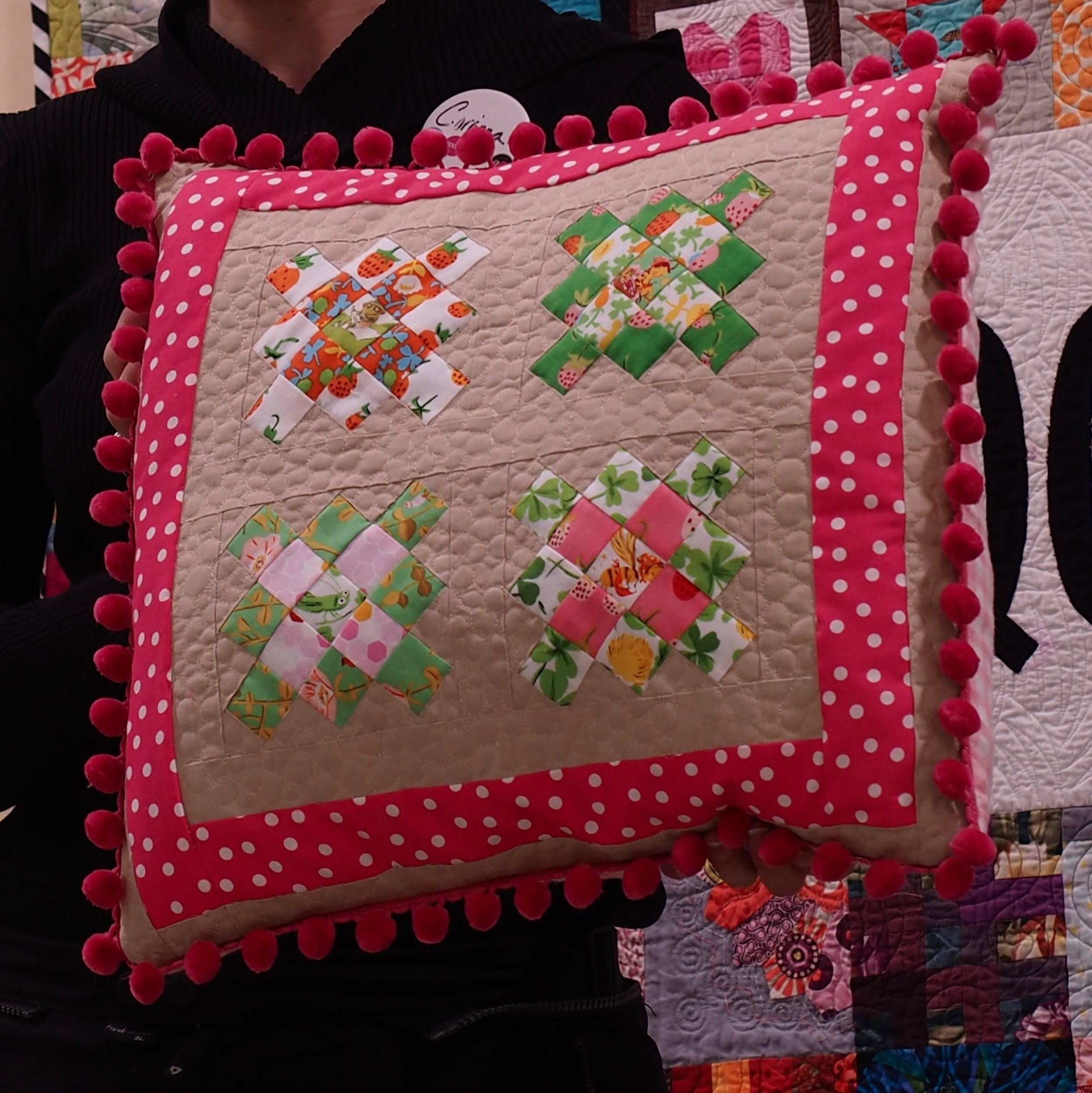 Pillow from holiday swap made by Chelsea for Elsa